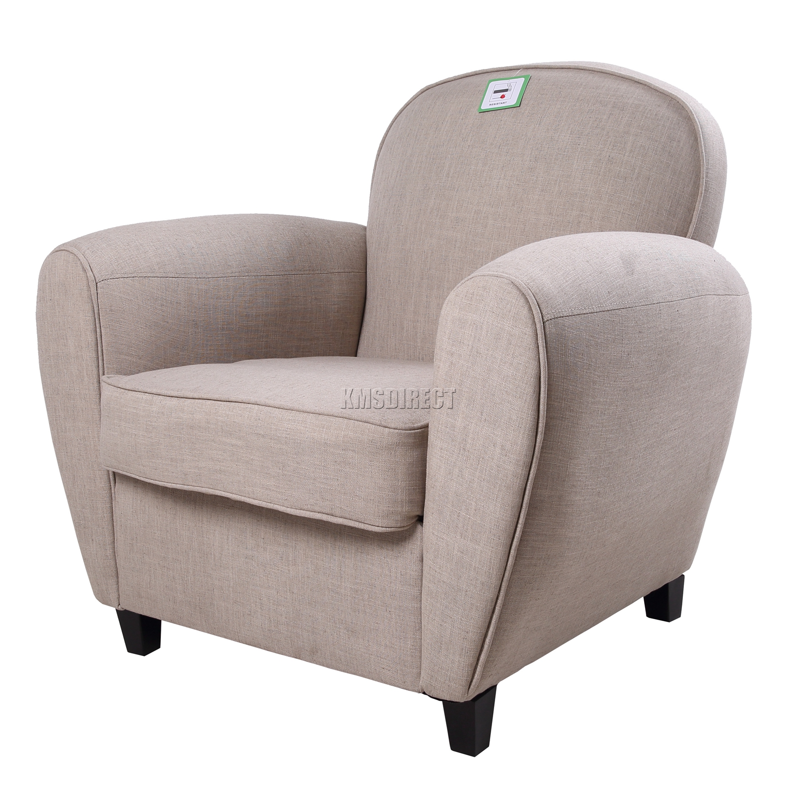 Foxhunter linen fabric tub chair armchair 2094 sofa dining for Cream armchair