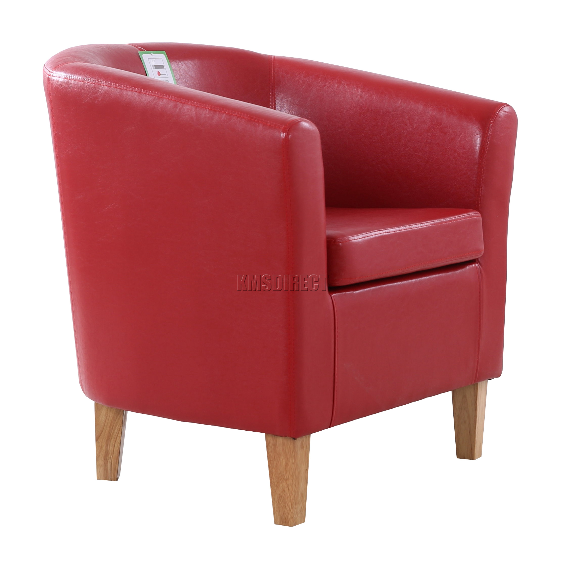 FoxHunter Red Faux Leather Tub Chair Armchair Dining Room