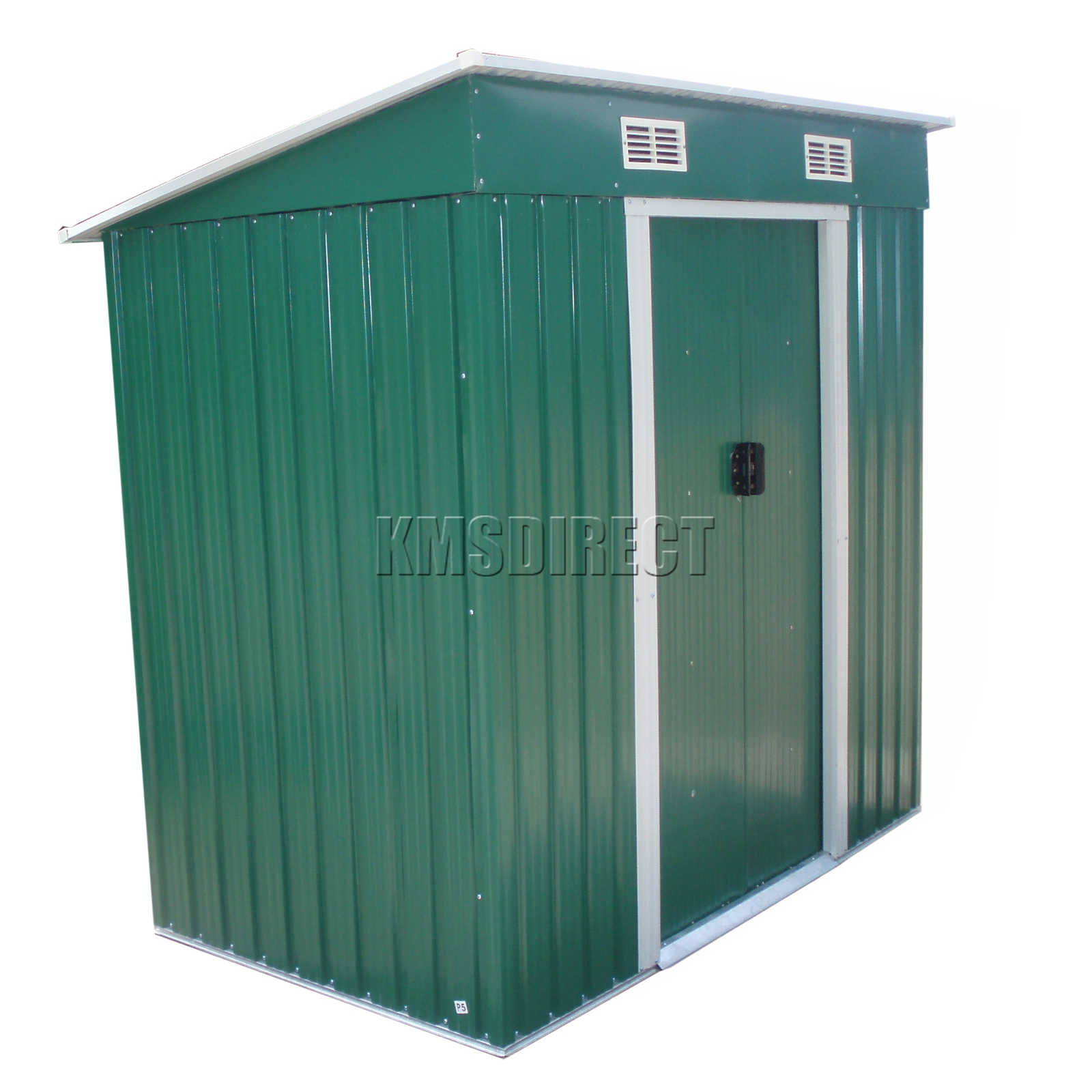 Foxhunter green garden shed metal pent roof 4ft x 8ft for Garden shed 4 x 2
