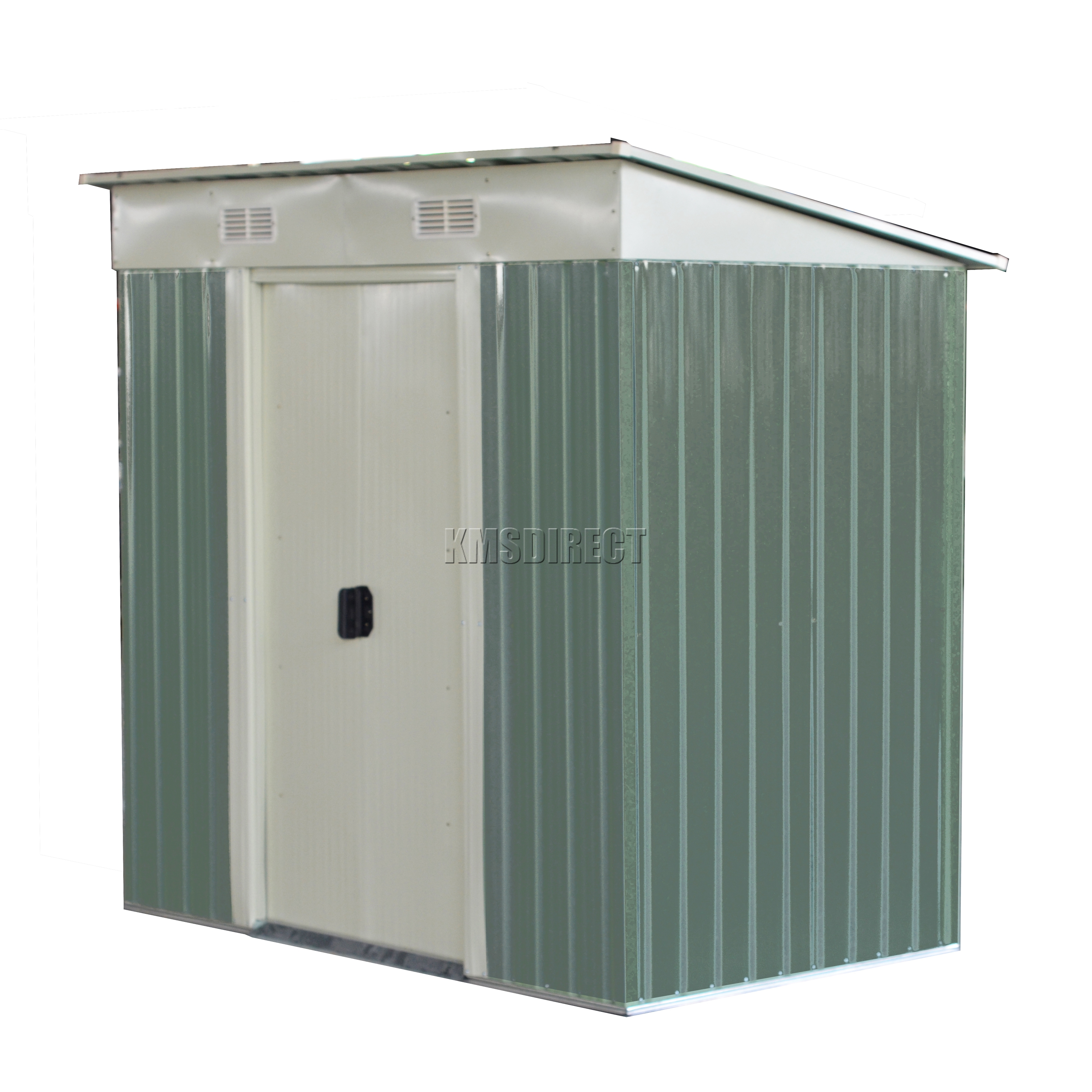 FoxHunter Light Green Garden Shed Pent Roof 4 X 8FT Outdoor Storage Foundatio
