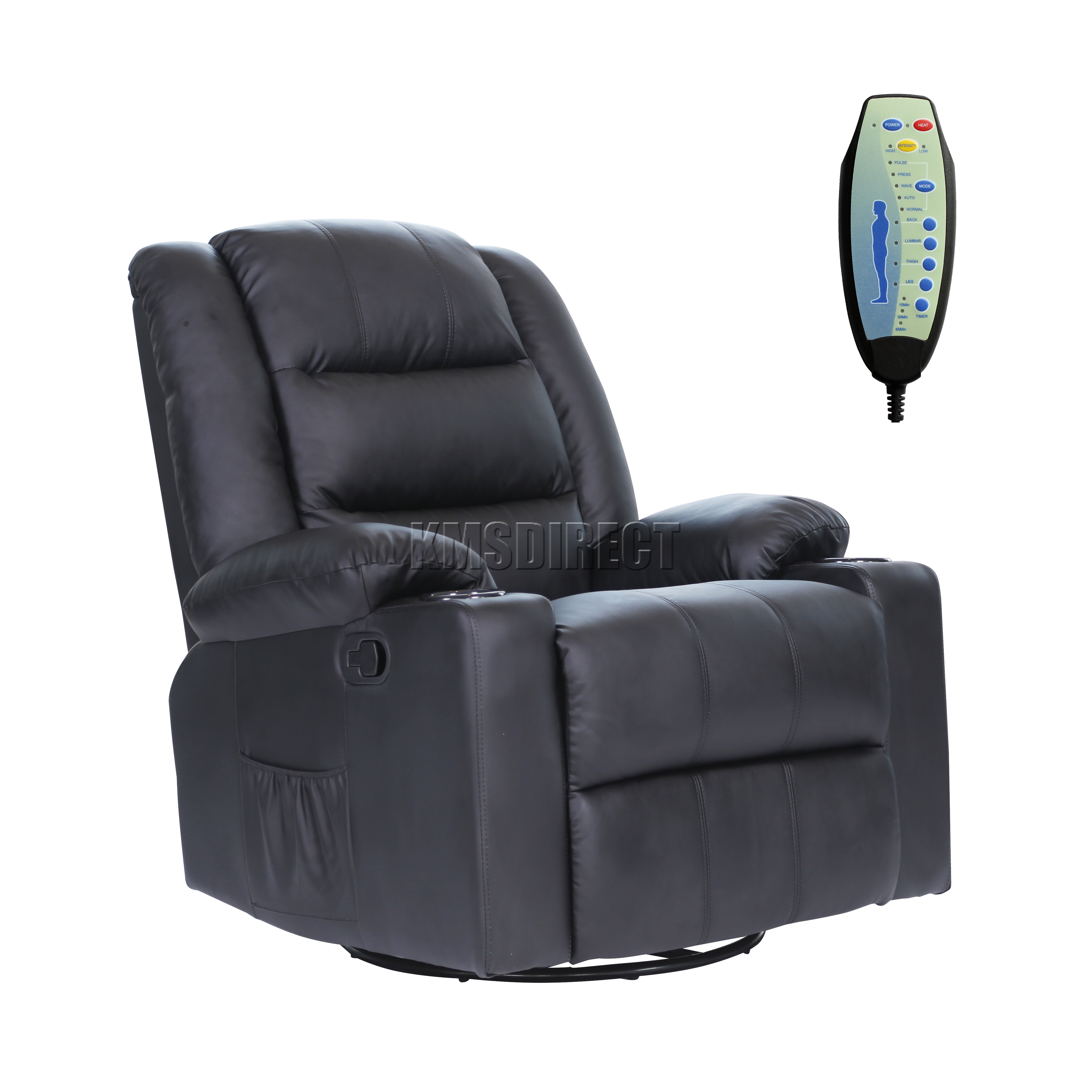 Foxhunter Leather Massage Cinema Recliner Sofa Chair Swivel Rocking Mls 04 Black Ebay