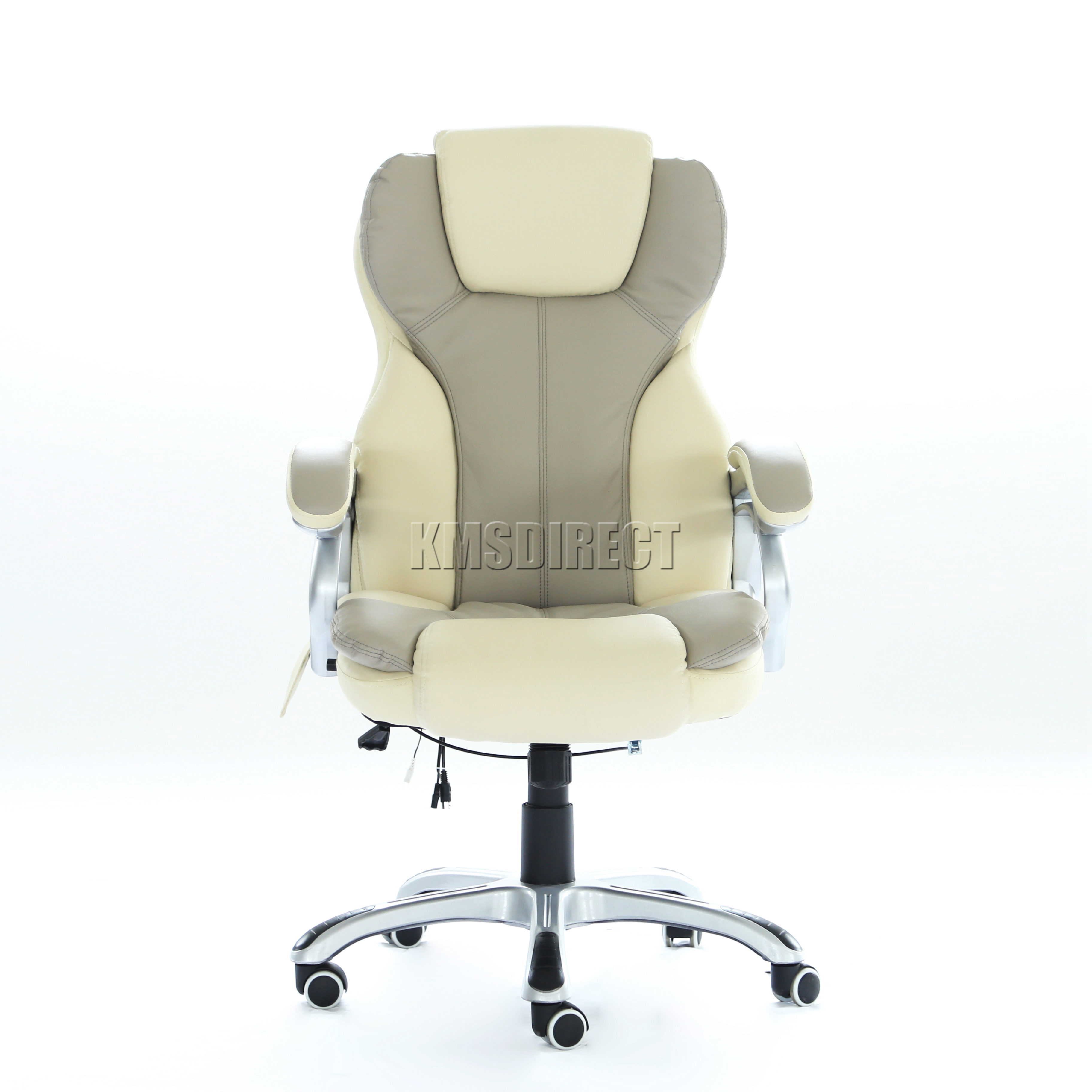 Foxhunter luxury 6 point massage office computer chair for Cream office chair