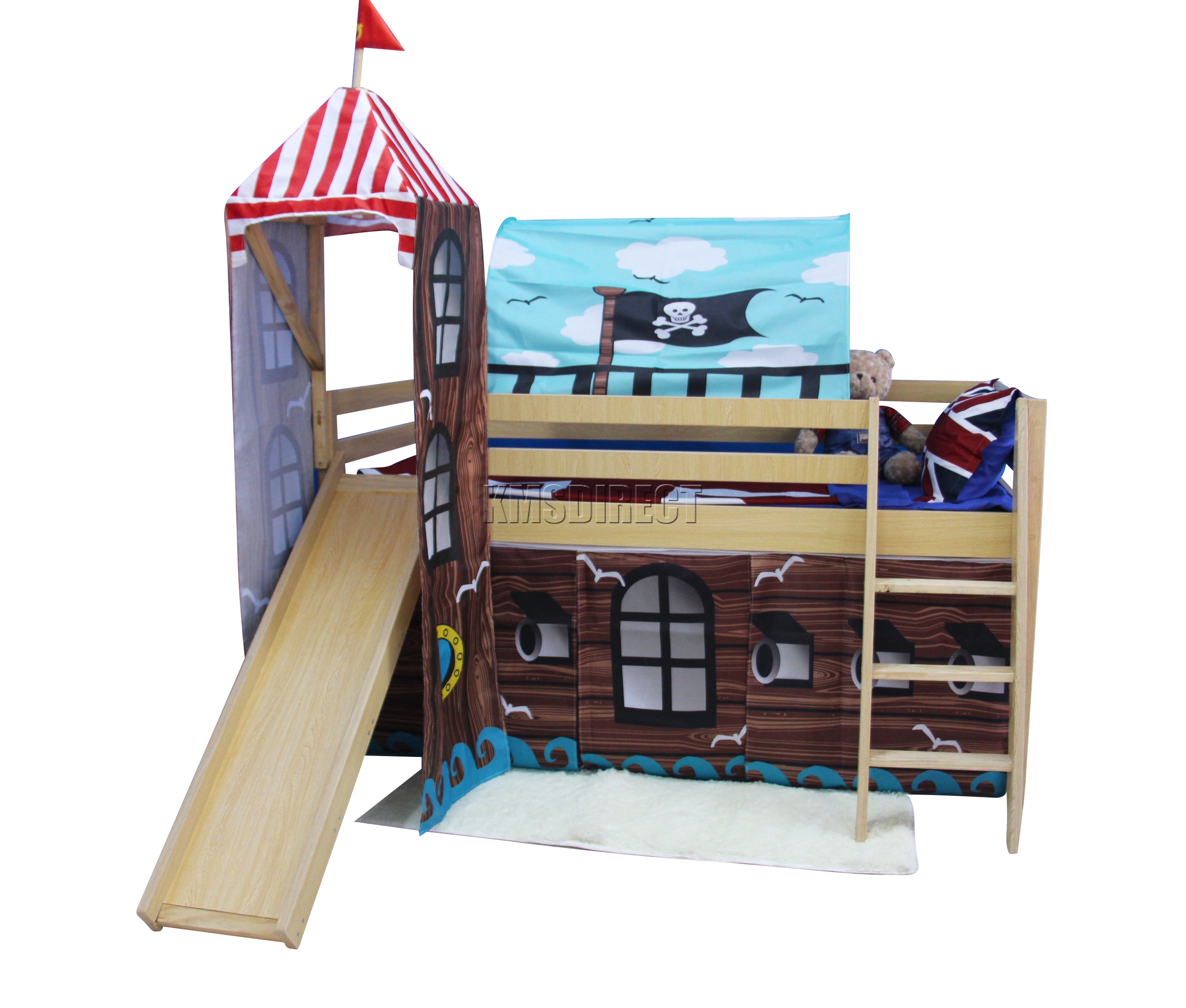 Foxhunter wood mid sleeper cabin bunk bed kids tent slide for Pirate bed with slide
