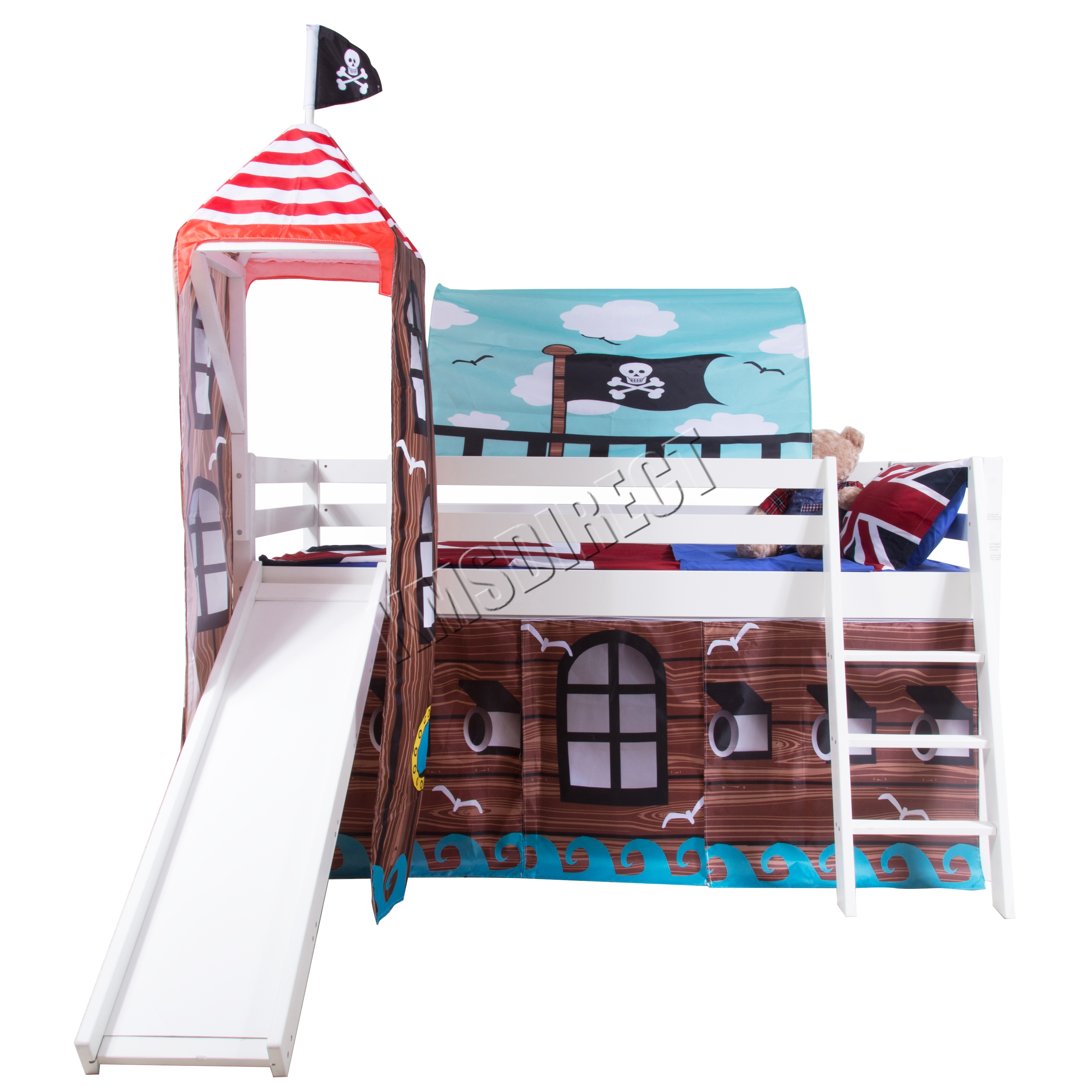 Foxhunter wood mid sleeper cabin bunk bed kids tent slide for White bunk bed frame