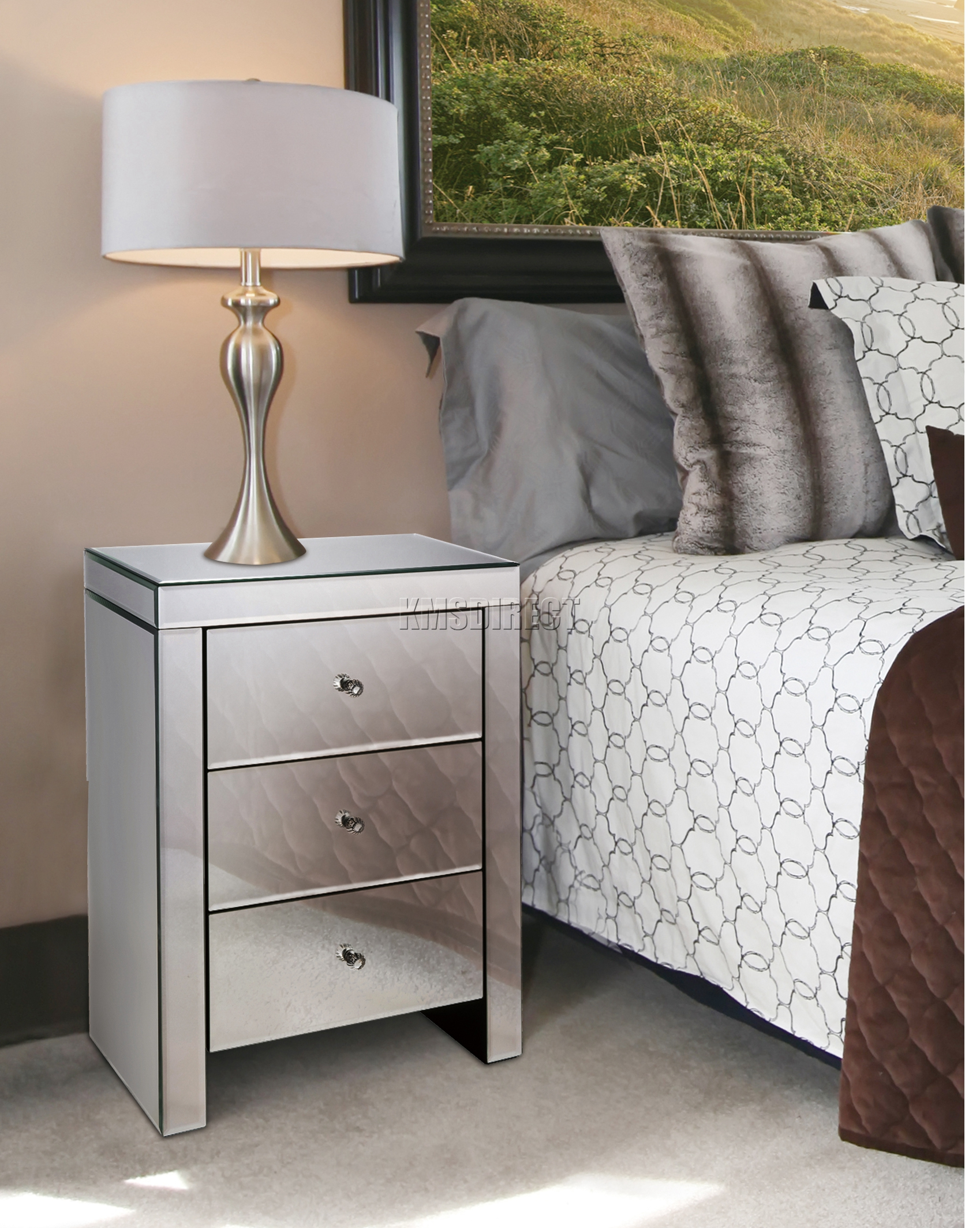 FoxHunter Mirrored Furniture Glass 3 Drawer Bedside Cabinet Table Bedroom MBC
