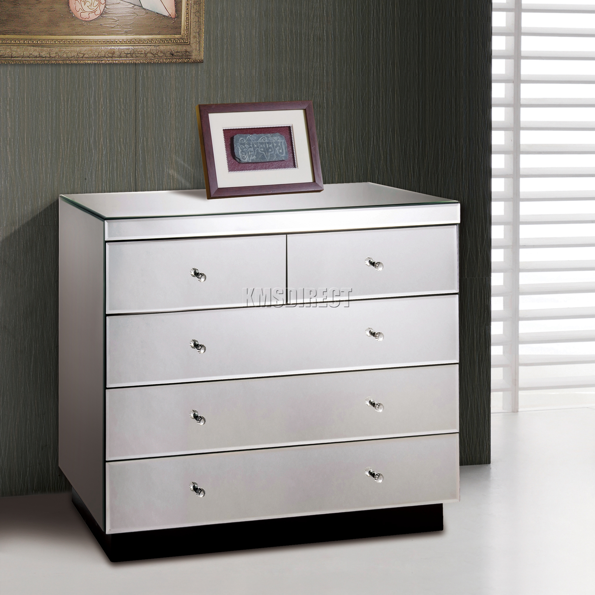 FoxHunter Mirrored Furniture Glass 2 Over 3 Drawer Chest Cabinet Bedroom MC03