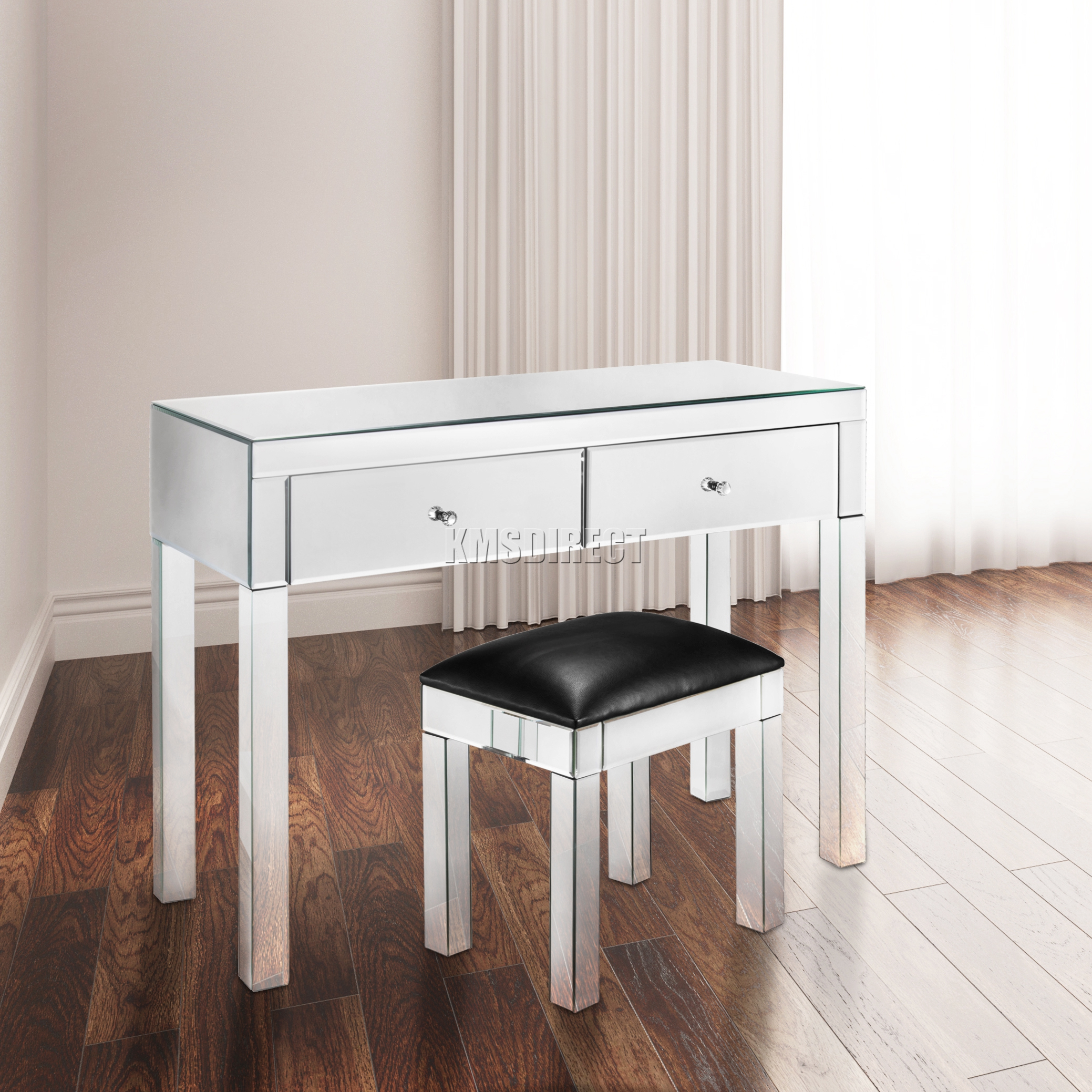 Mirrored Furniture Foxhunter Mirrored Furniture Glass 2 Drawer Dressing Table Console