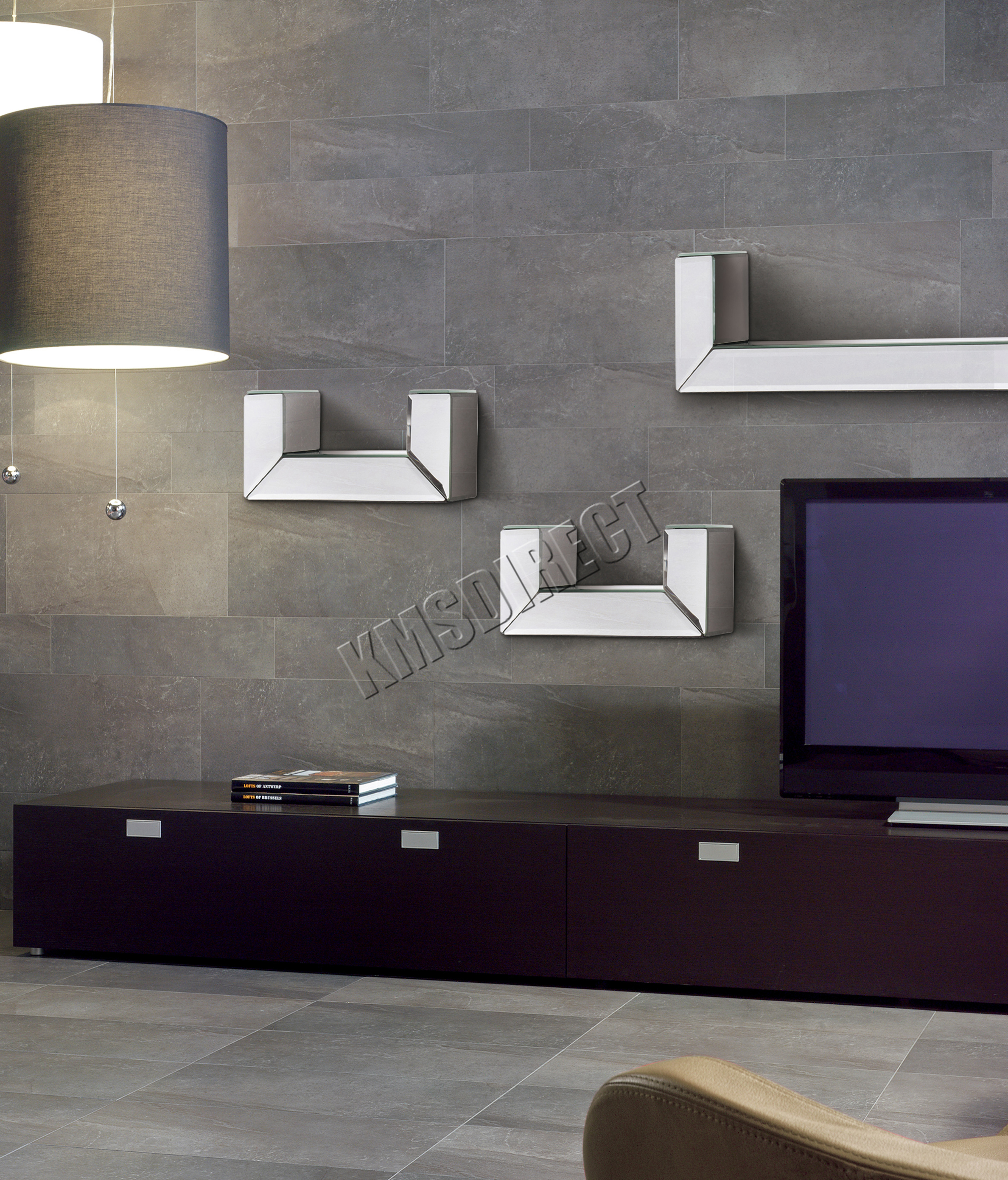 Mirrored Furniture Foxhunter Bevelled Mirrored Furniture Glass U Shaped Floating Wall