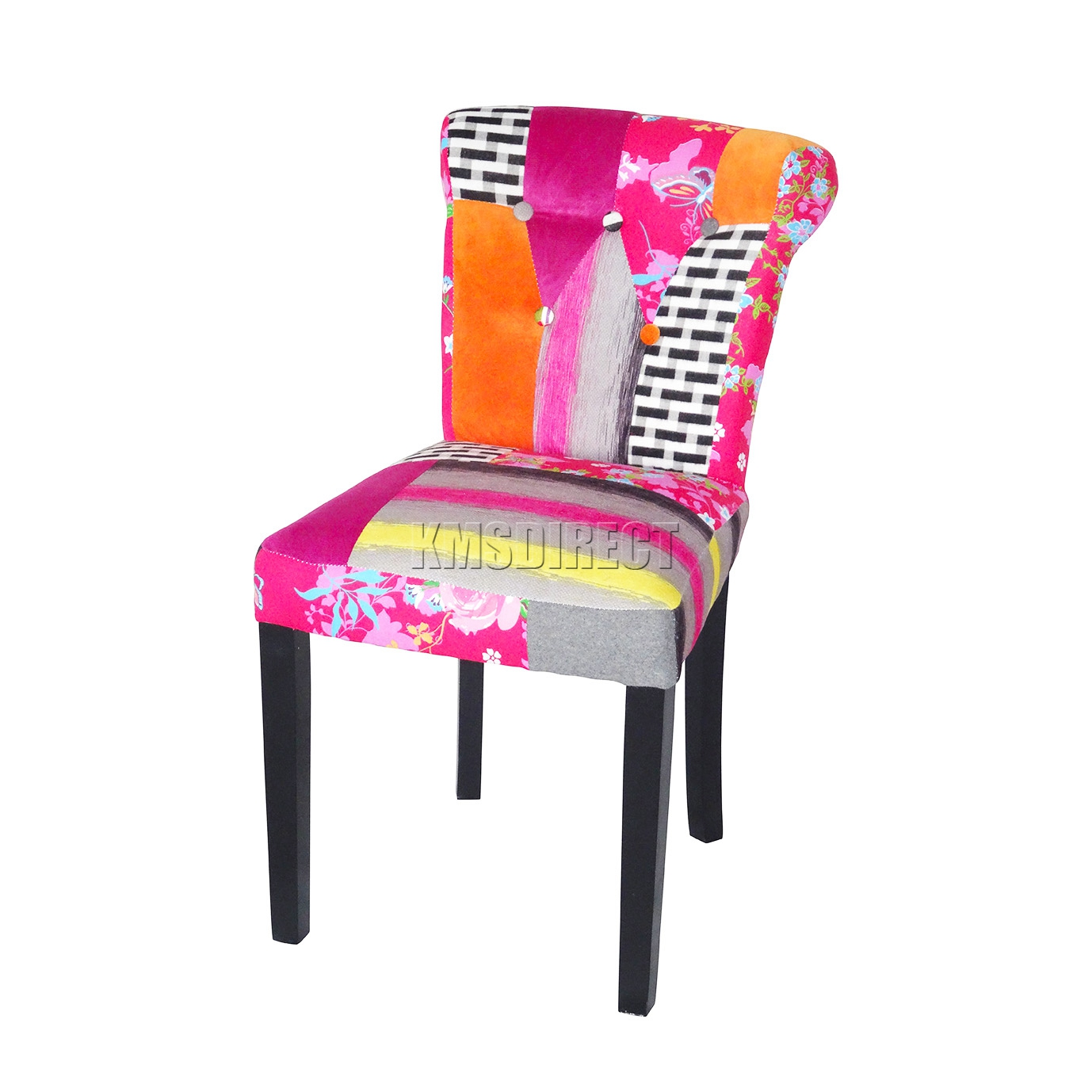 Foxhunter patchwork chair fabric vintage dining room seat for Retro space fabric uk