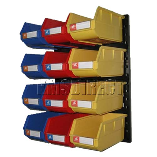 Plastic Garage Bin Wall Storage Kit With 12 Bins 004