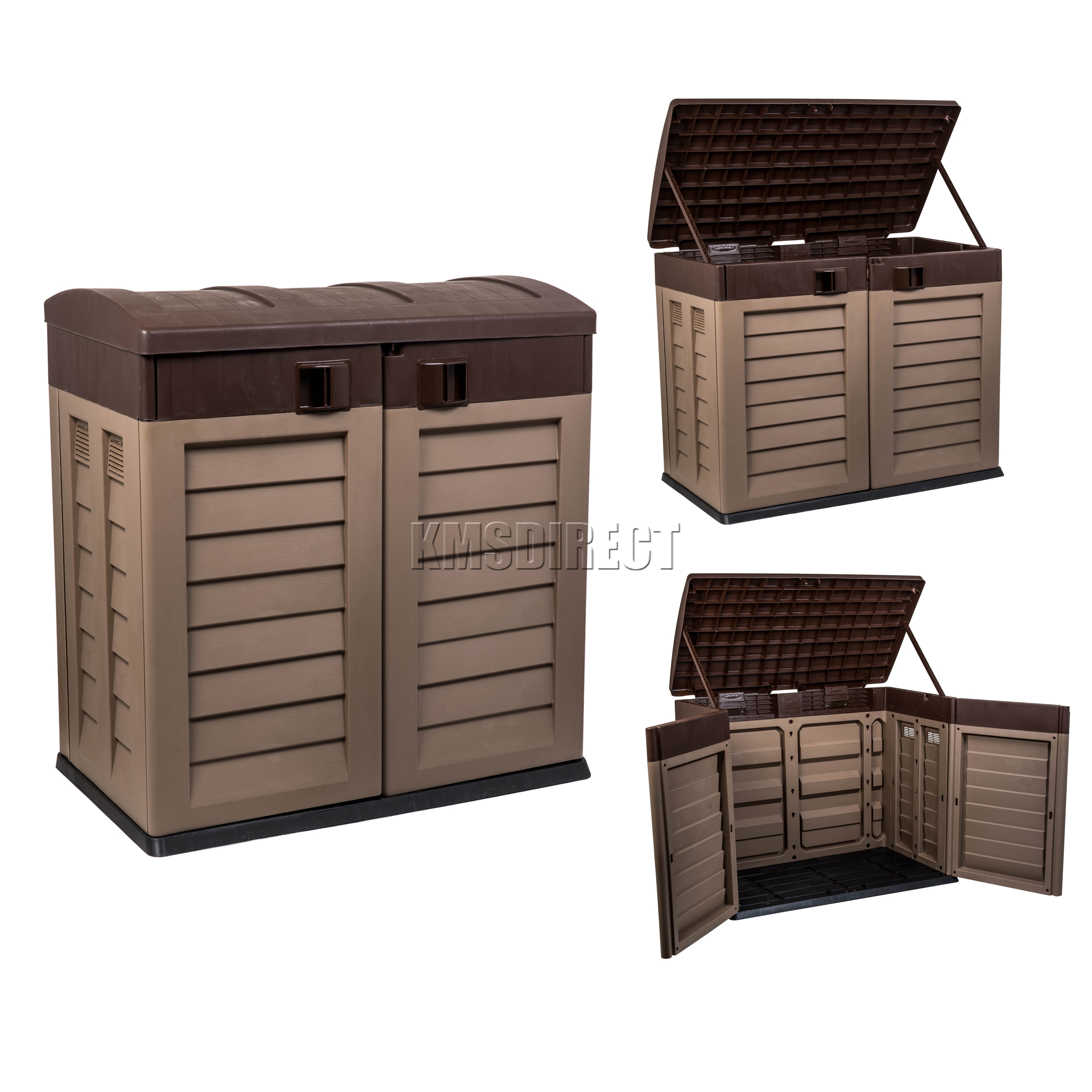 Starplast outdoor plastic garden low shed box chest - Outdoor plastic shed storage ...