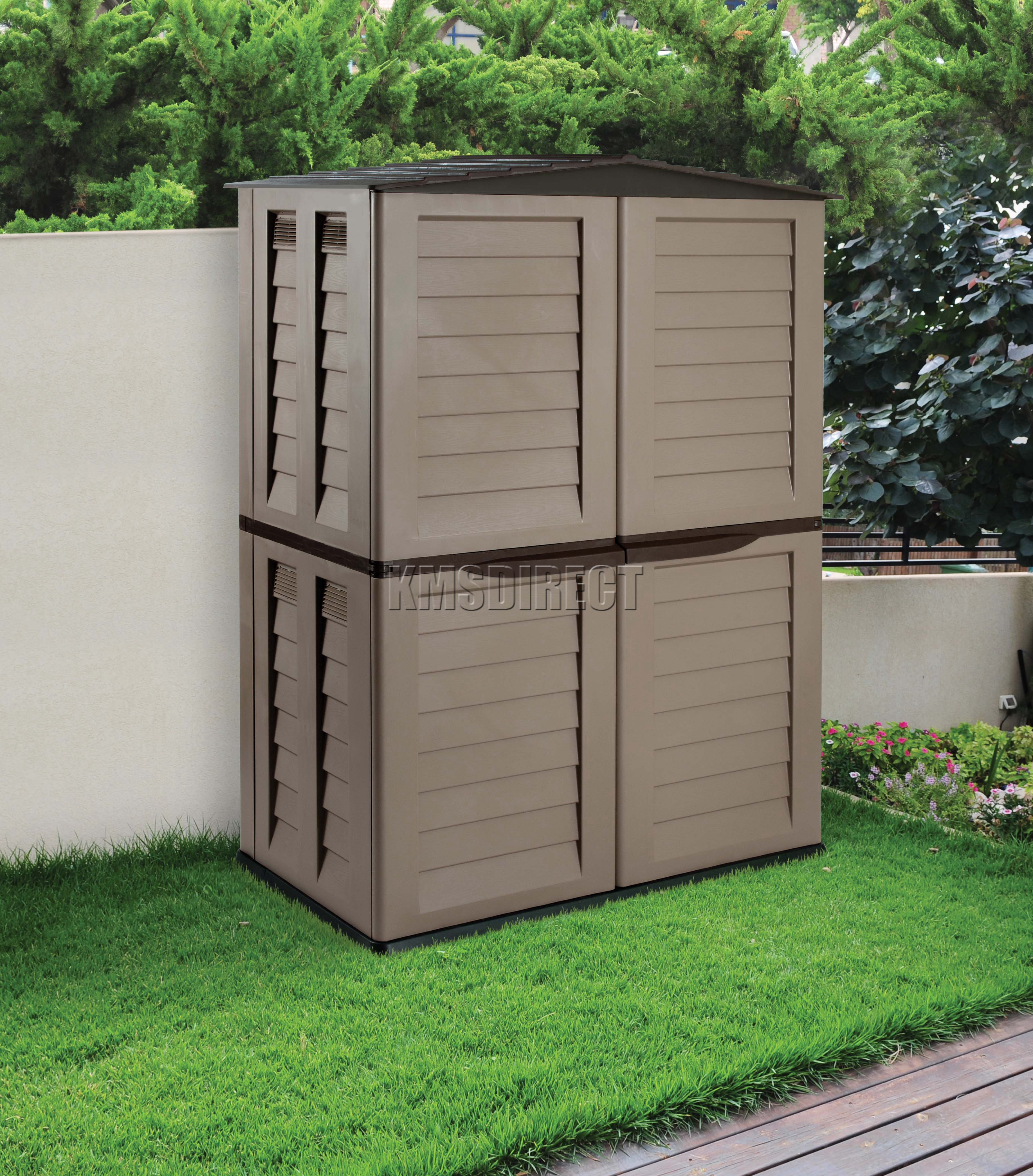 Starplast outdoor plastic garden tall shed box storage unit 37 811 chocolate new ebay for Name something you keep in a garden shed