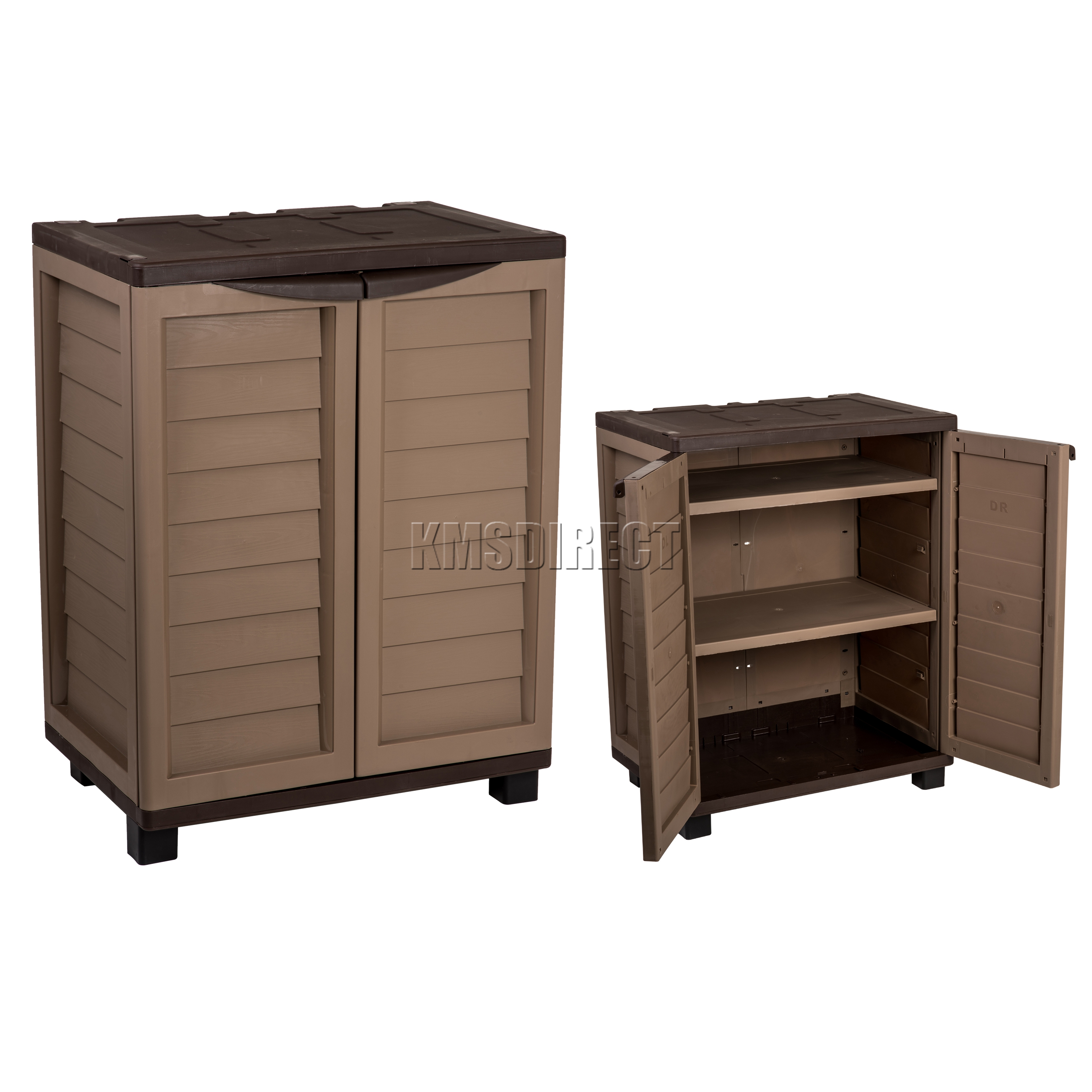 Starplast Outdoor Plastic Garden Utility Cabinet With 2 Shelves Storage Mocha Ebay