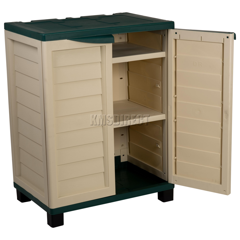 starplast outdoor plastic garden utility cabinet with 2. Black Bedroom Furniture Sets. Home Design Ideas