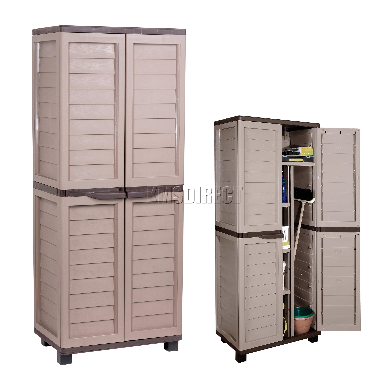 Outdoor Plastic Storage Cabinet 165cm X 65cm Plastic Indoor Outdoor Garden Storage