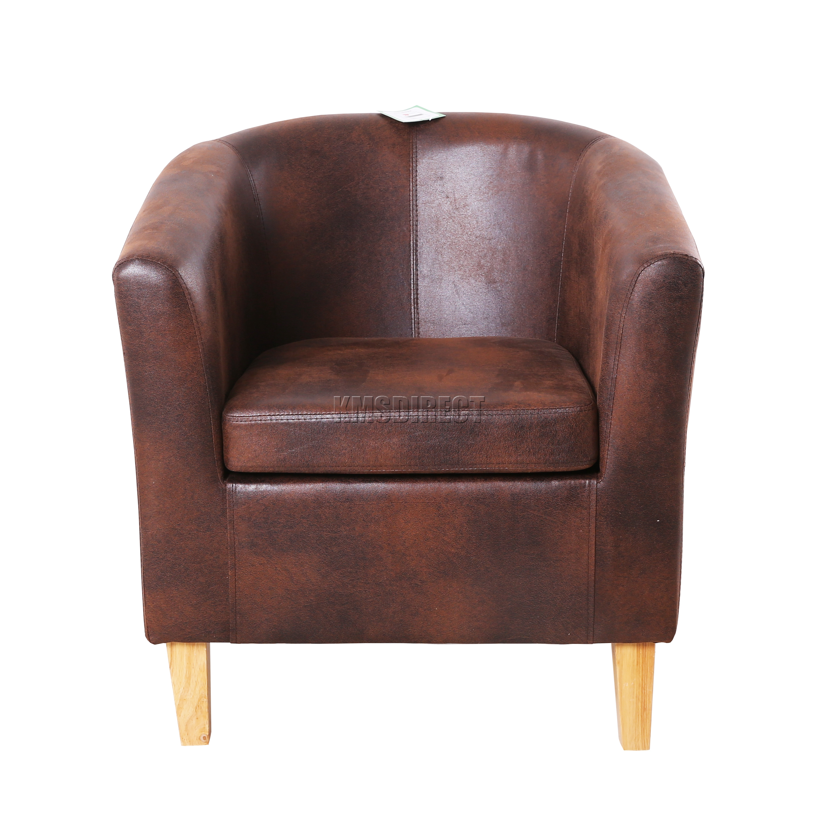 Foxhunter Vintage Brown Faux Leather Tub Chair Armchair