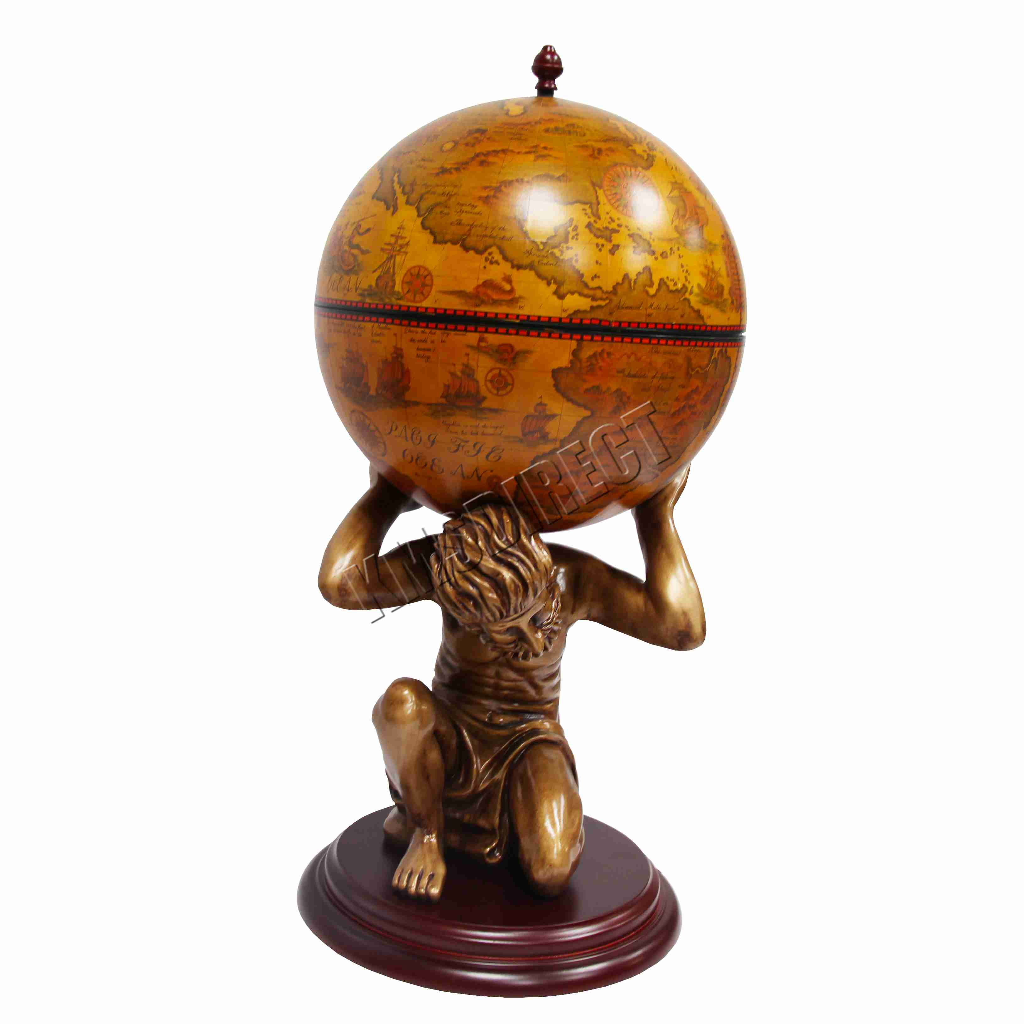 Foxhunter Vintage Globe Mini Bar Atlas Wine Drink