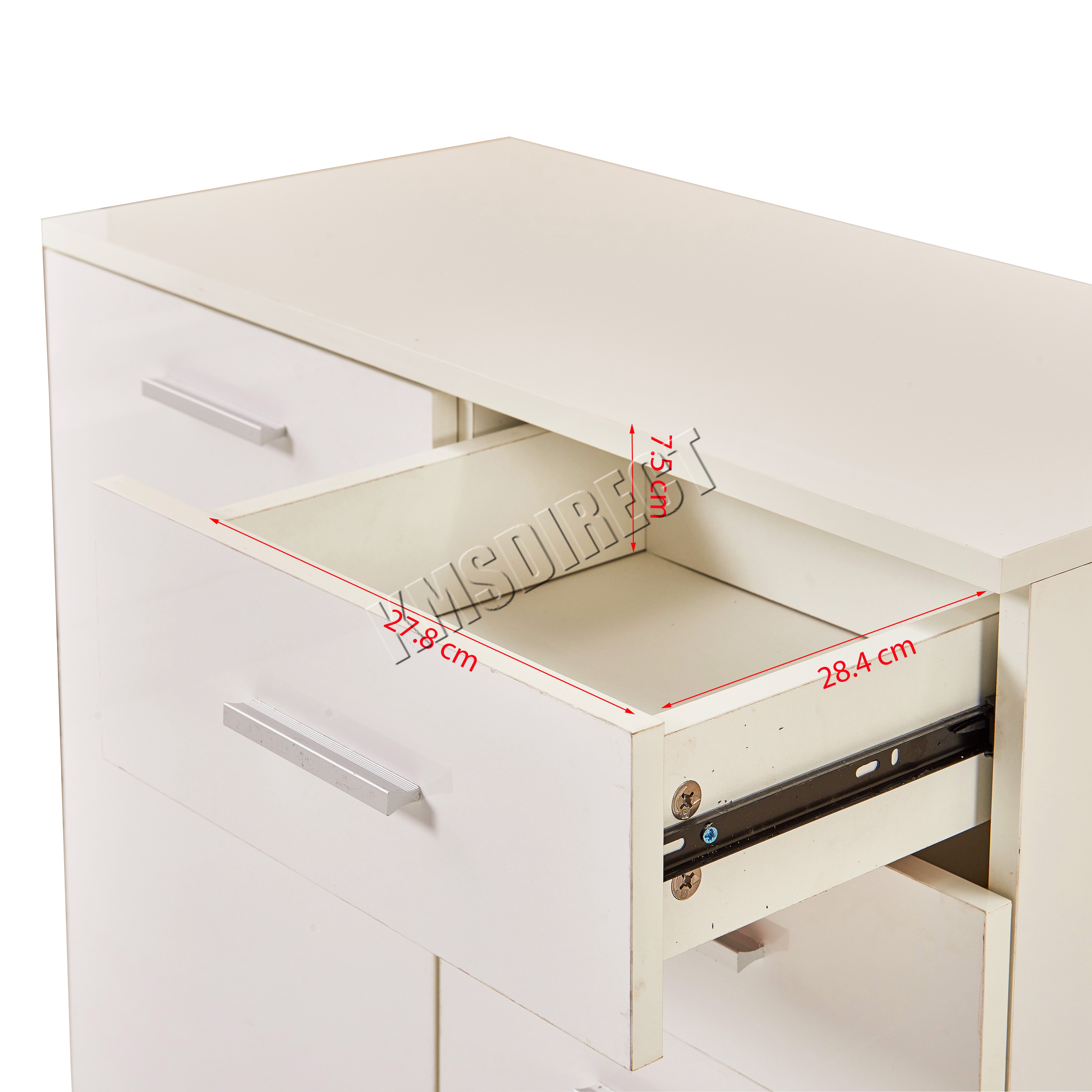 FoxHunter White High Gloss Cabinet Unit Sideboard 2