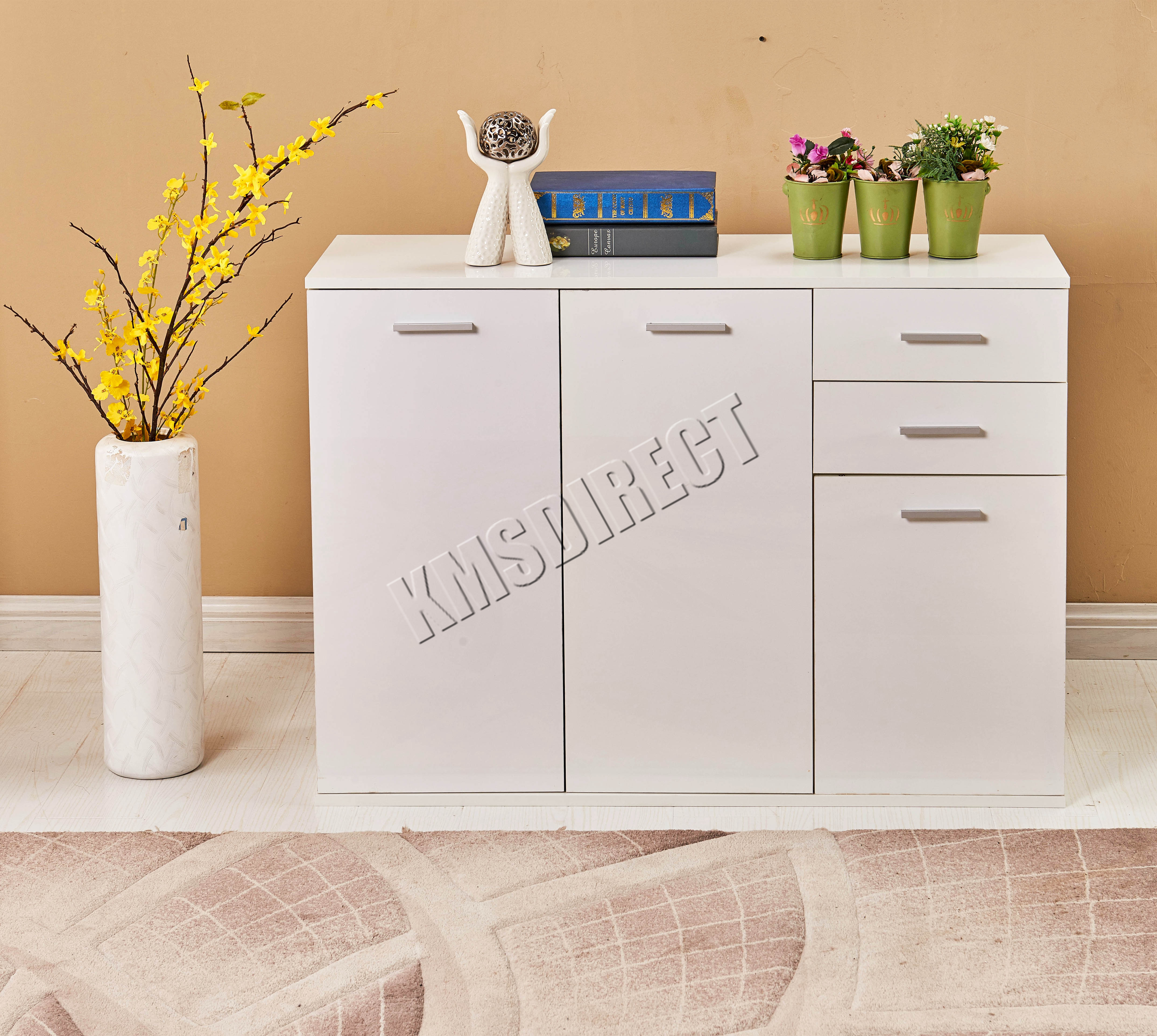 foxhunter white high gloss cabinet unit sideboard  drawers   - foxhunterwhitehighglosscabinetunitsideboard