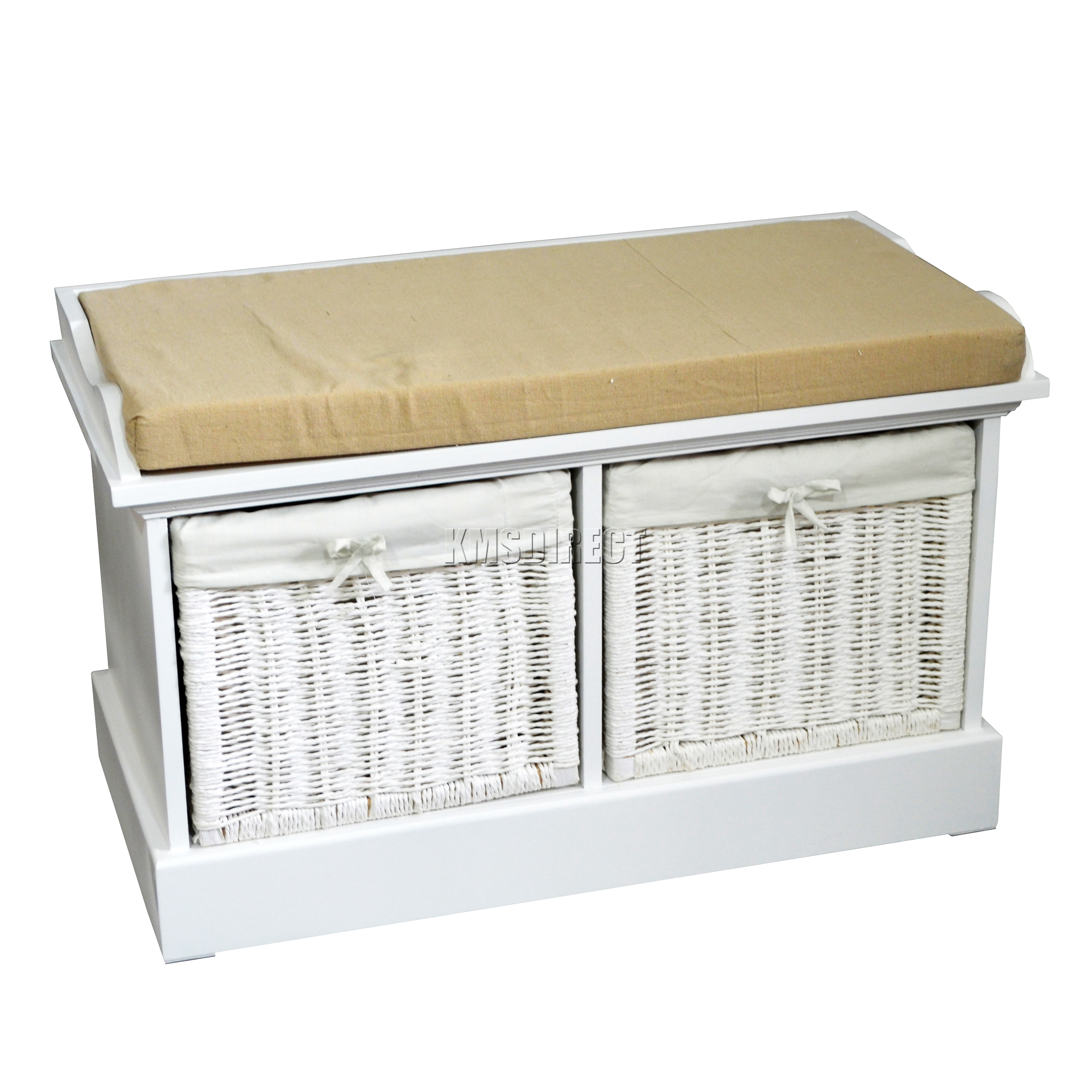 foxhunter wooden storage bench seat with 2 wicker basket drawer cabinet white. Black Bedroom Furniture Sets. Home Design Ideas