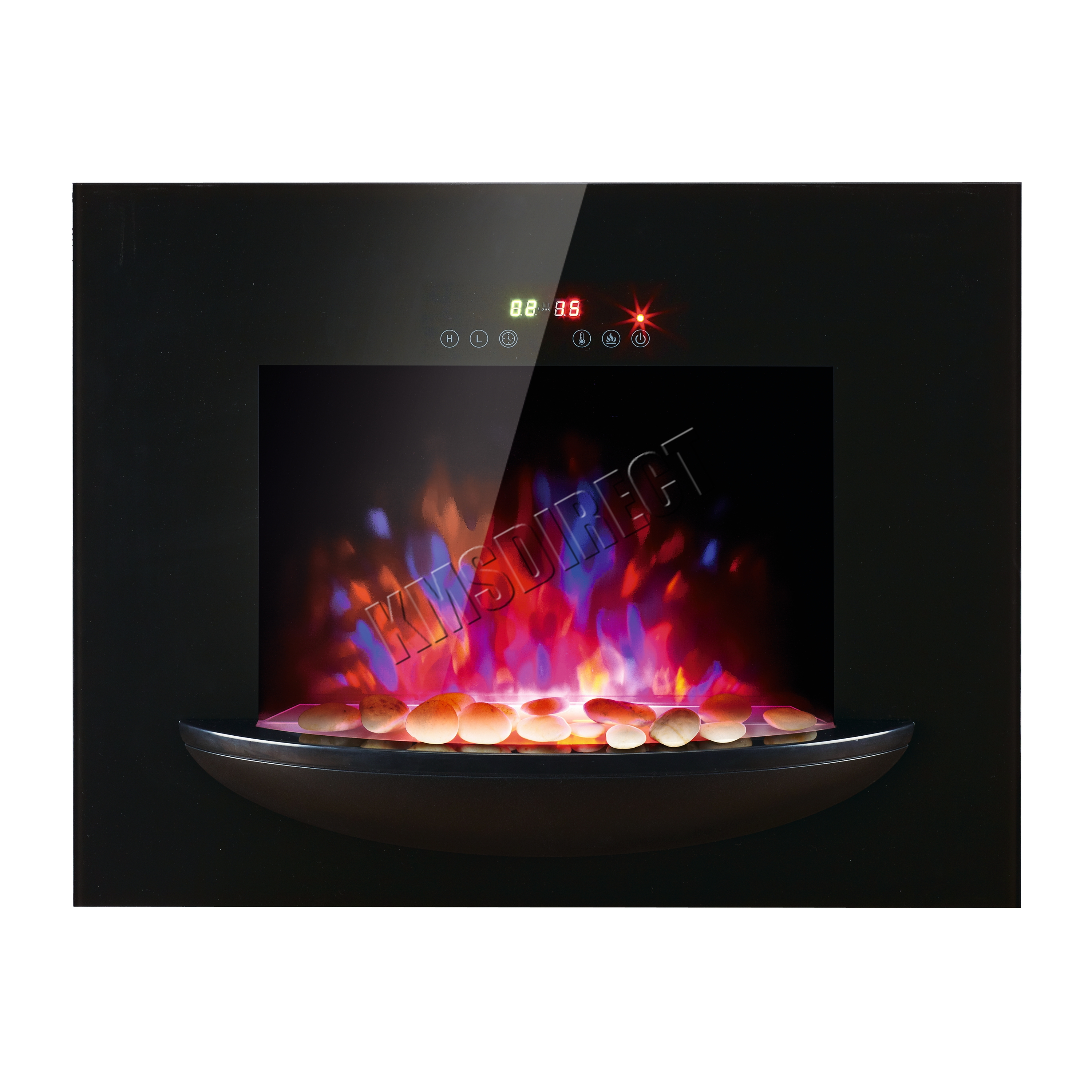 1 8KW Wall Mounted Electric Fireplace Plasma Black Glass Heater LED Flame Eff