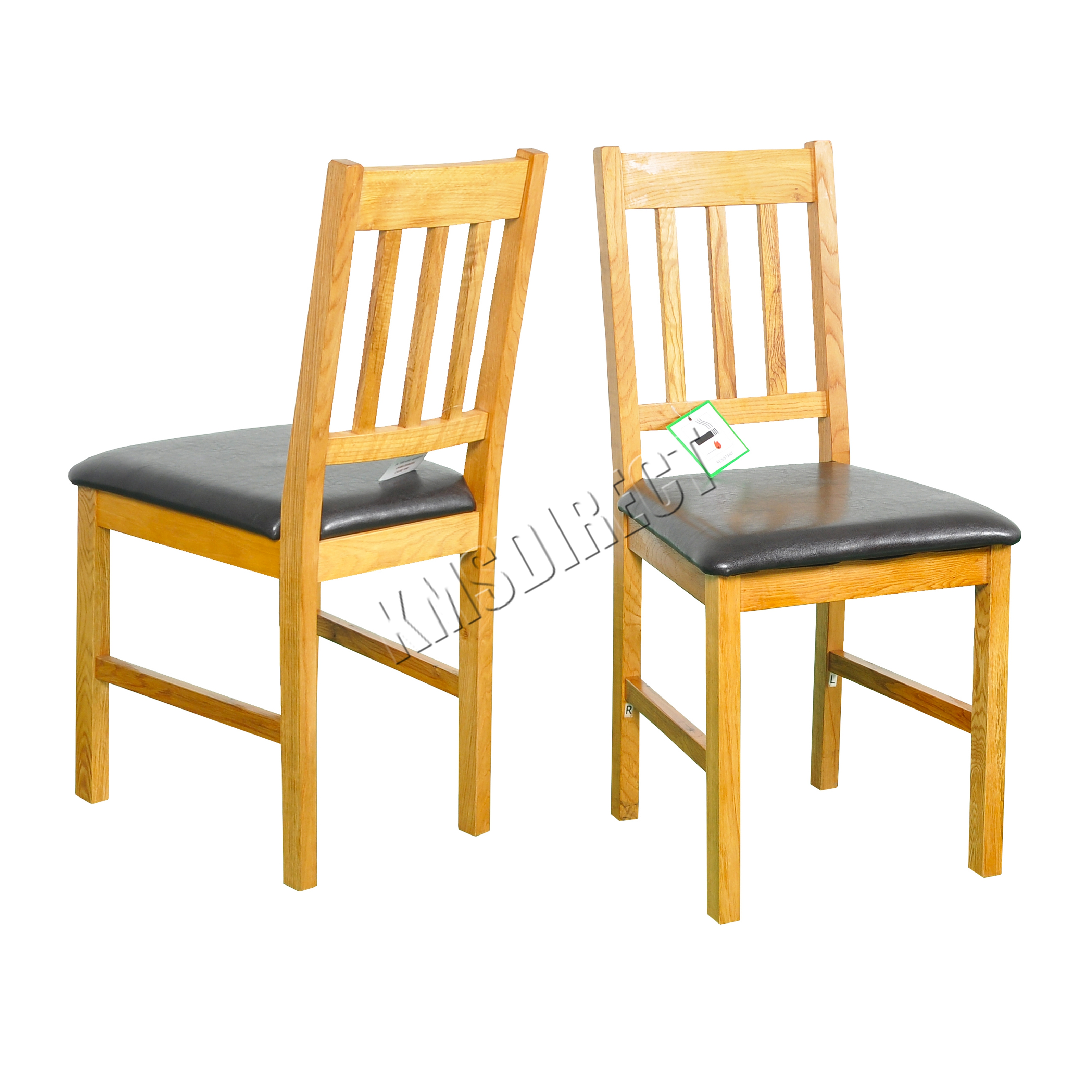 FoxHunter 2X Solid Wooden Oak Dining Chair Set With PU Leather Kitchen FH OF0