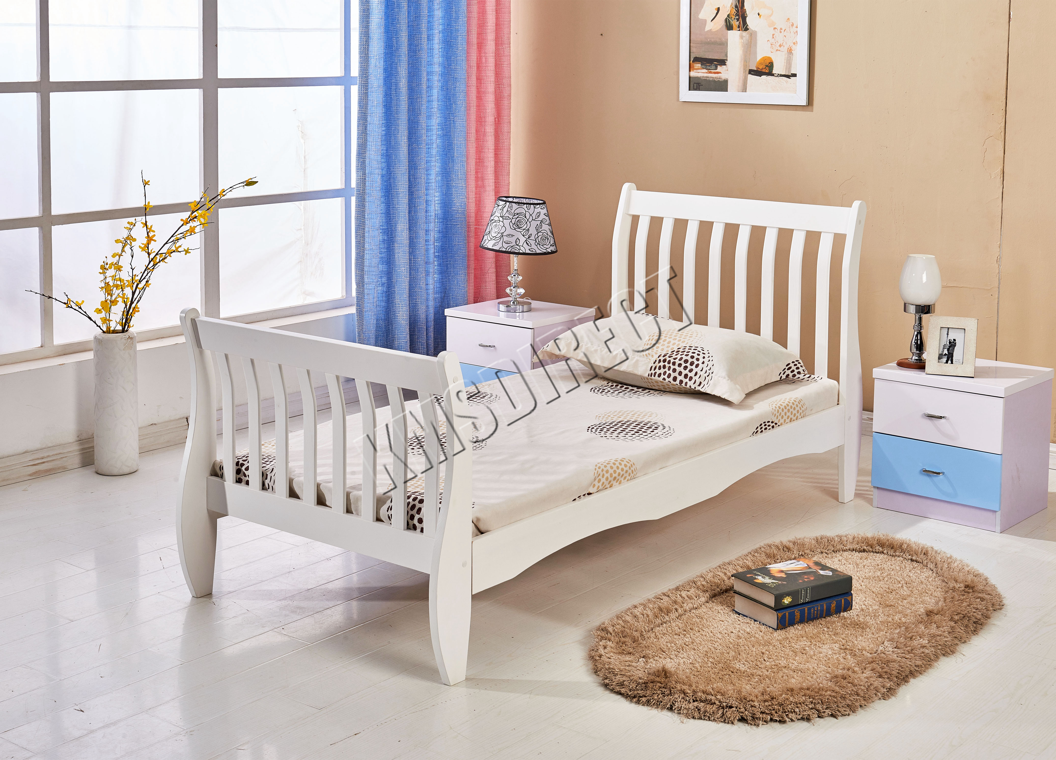 Good Sentinel FoxHunter 3ft Single Wooden Sleigh Bed Frame Pine Bedroom  Furniture White WSB01