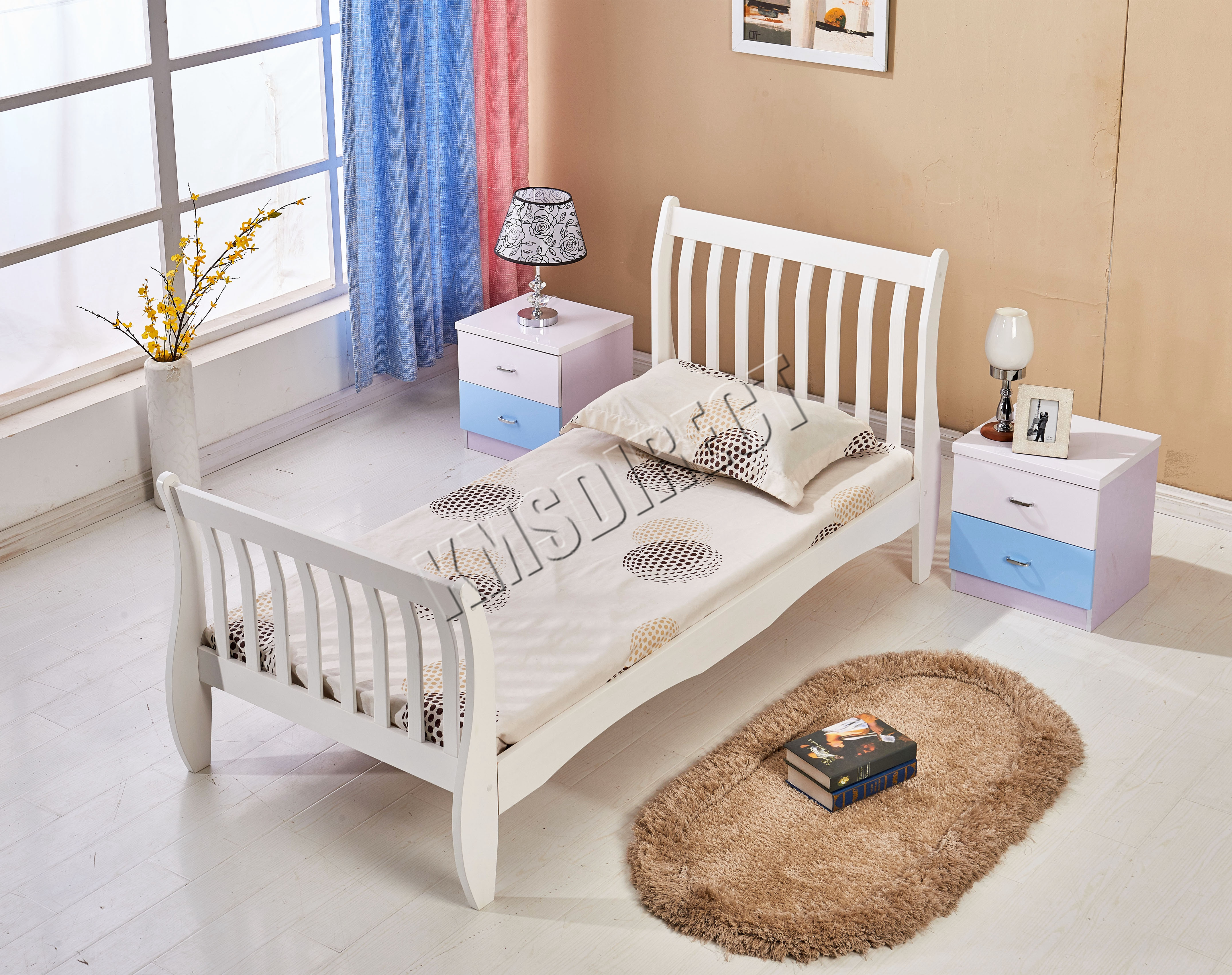 Sentinel FoxHunter 3ft Single Wooden Sleigh Bed Frame Pine Bedroom  Furniture White WSB01