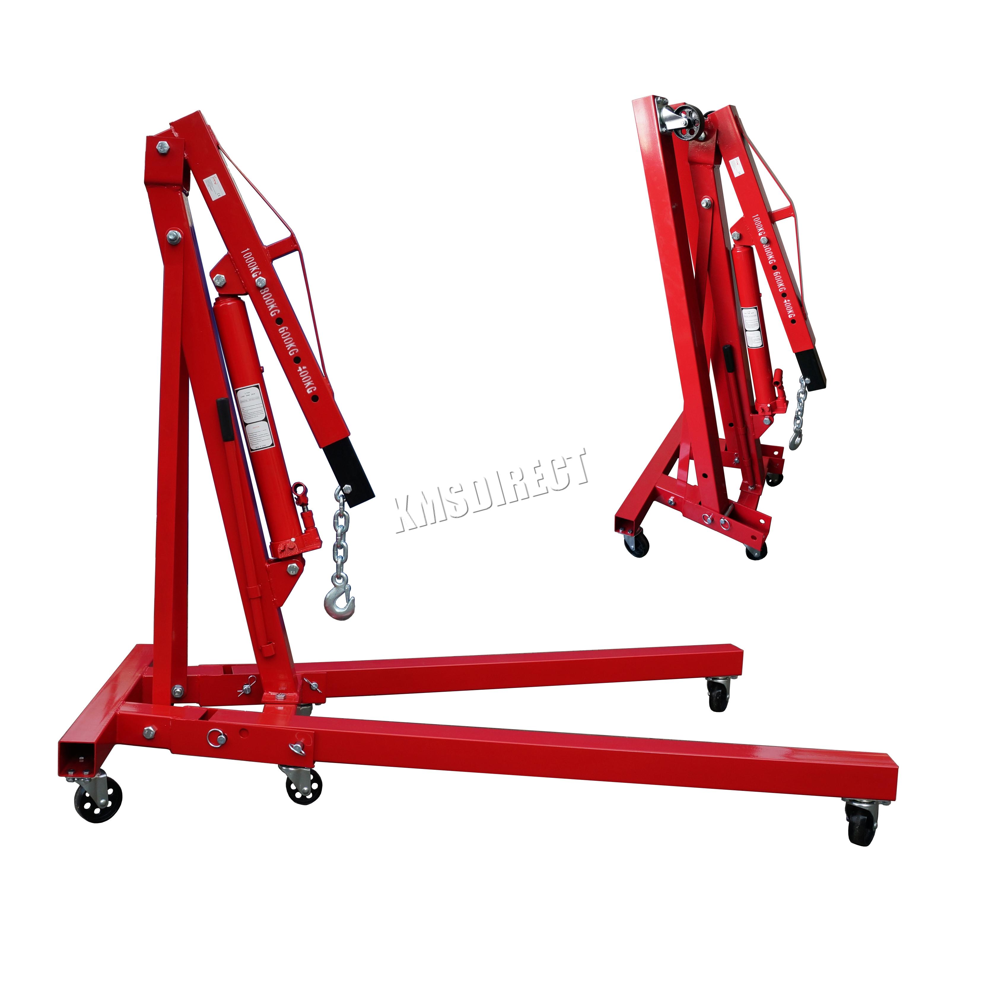Folding Jack Stands >> FoxHunter Red 1 Ton Hydraulic Folding Engine Crane Shop Stand Hoist lift Jack | eBay