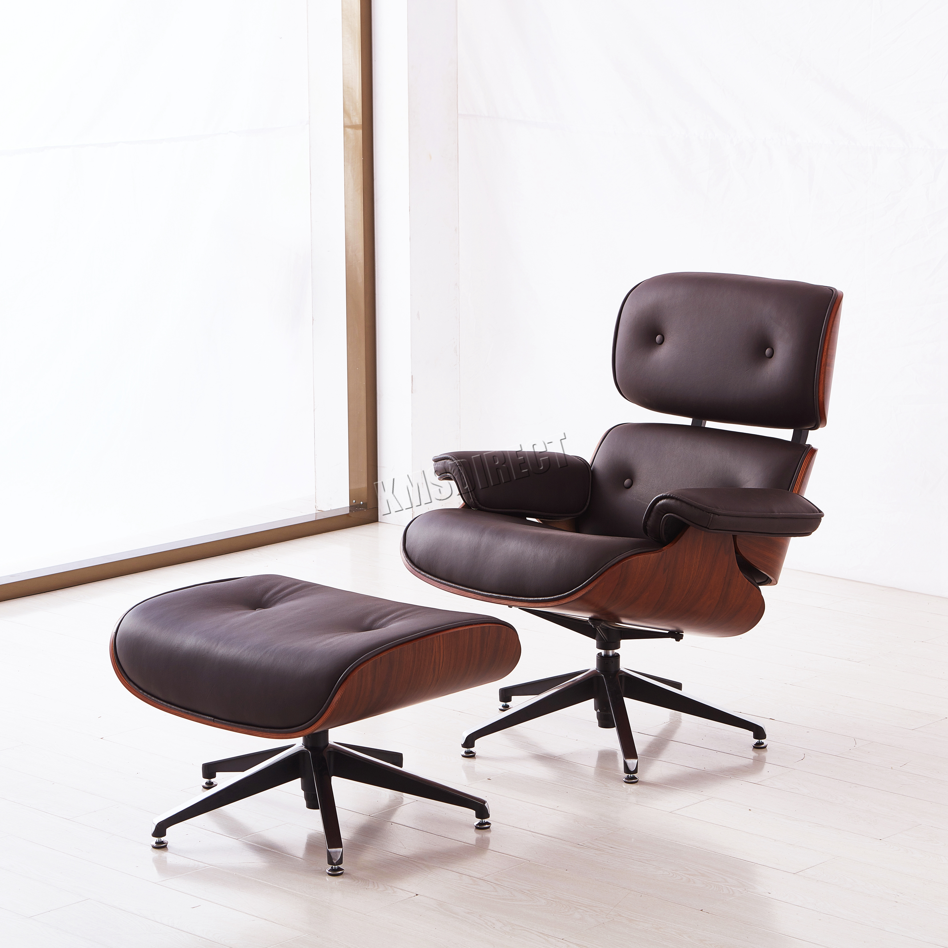 Foxhunter luxury lounge chair and ottoman real genuine