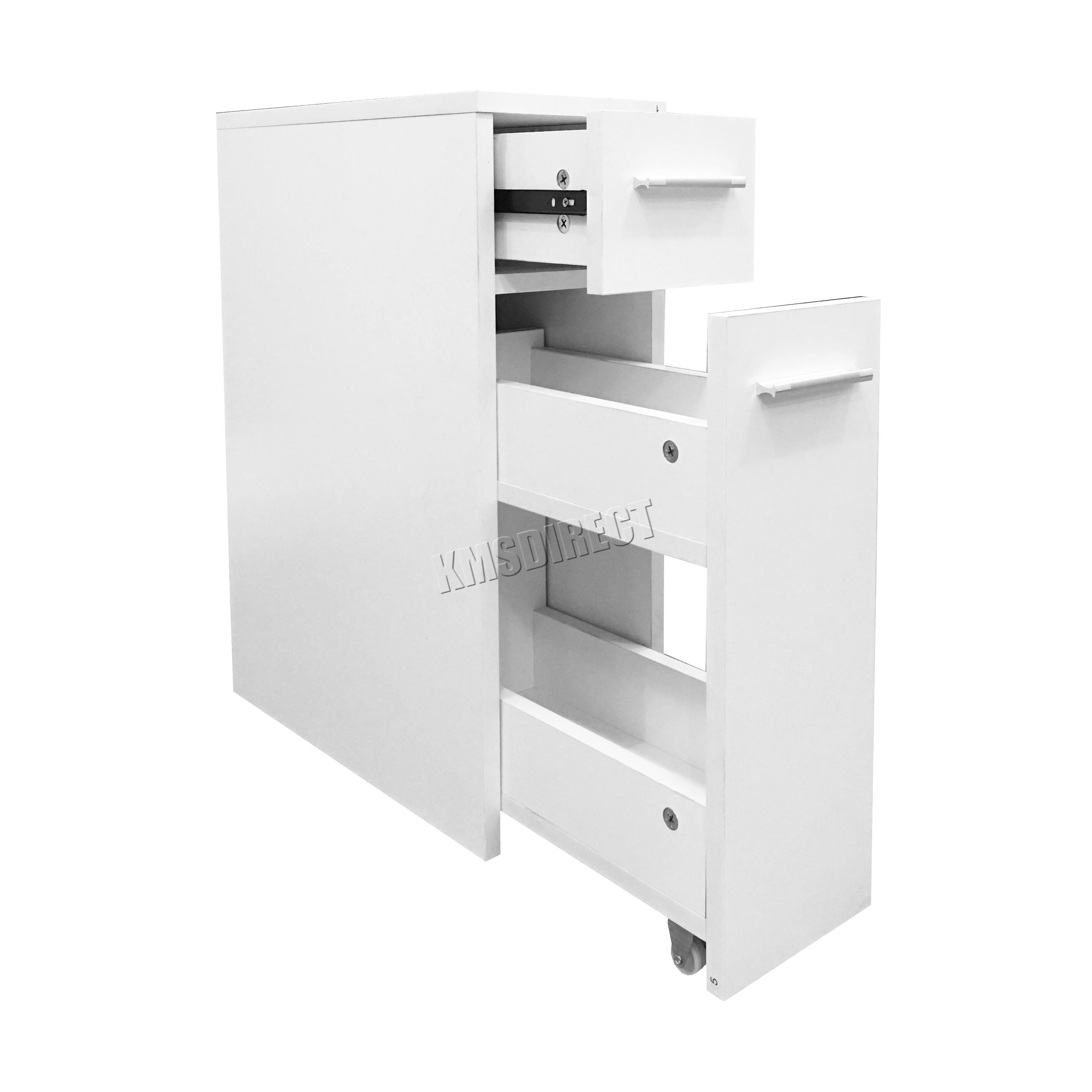 Bathroom drawer units in white - Sentinel Foxhunter Slimline Bathroom Slide Out Storage Drawer Cabinet Cupboard Unit White