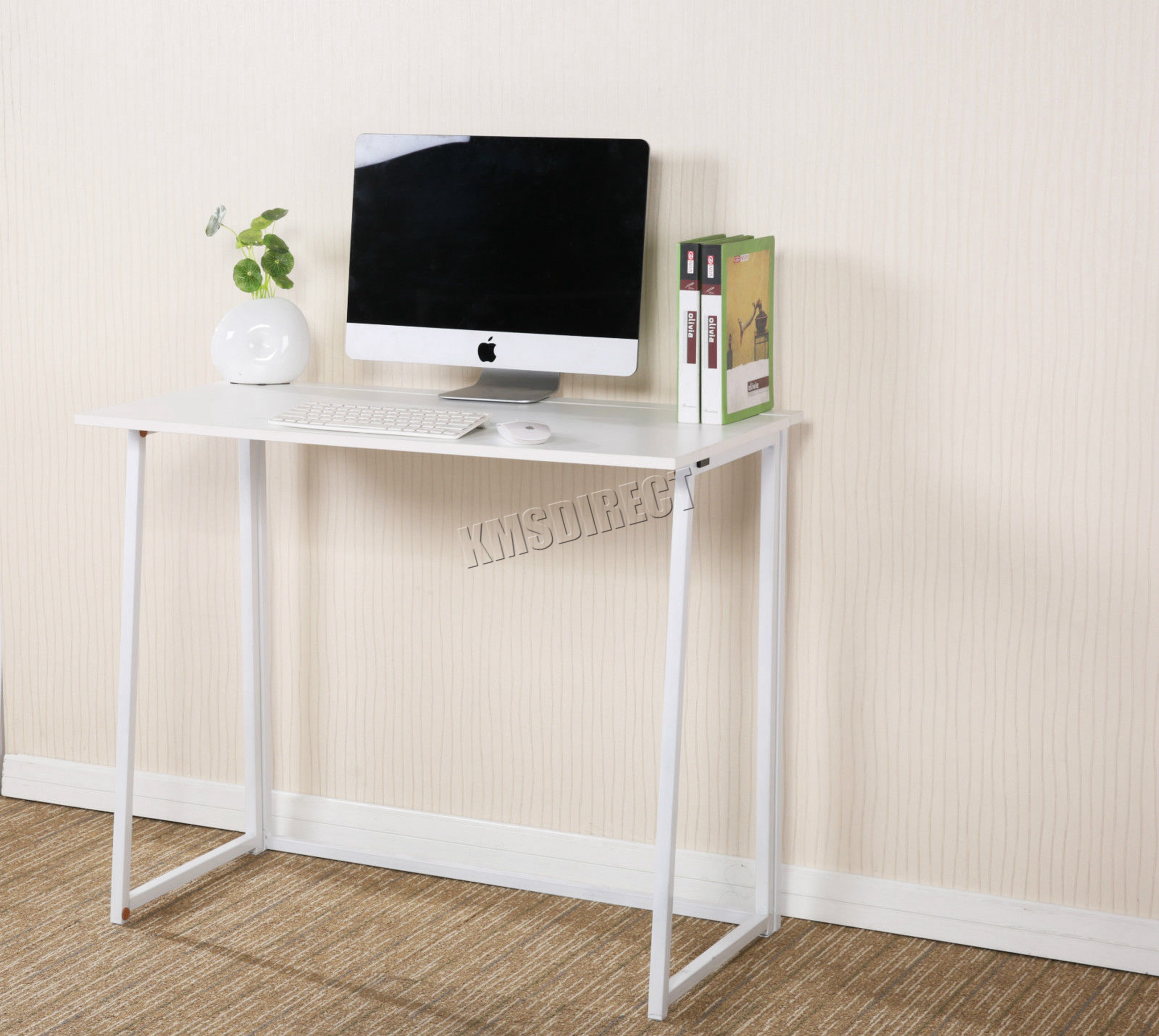Foxhunter foldable computer desk folding laptop pc table home office cd03 white ebay - Folding desks for small spaces concept ...