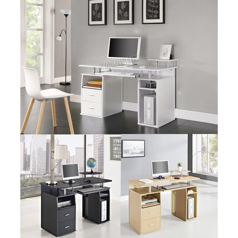 Foxhunter computador escritorio pc mesa con estanter as for Mesa estudio con cajones
