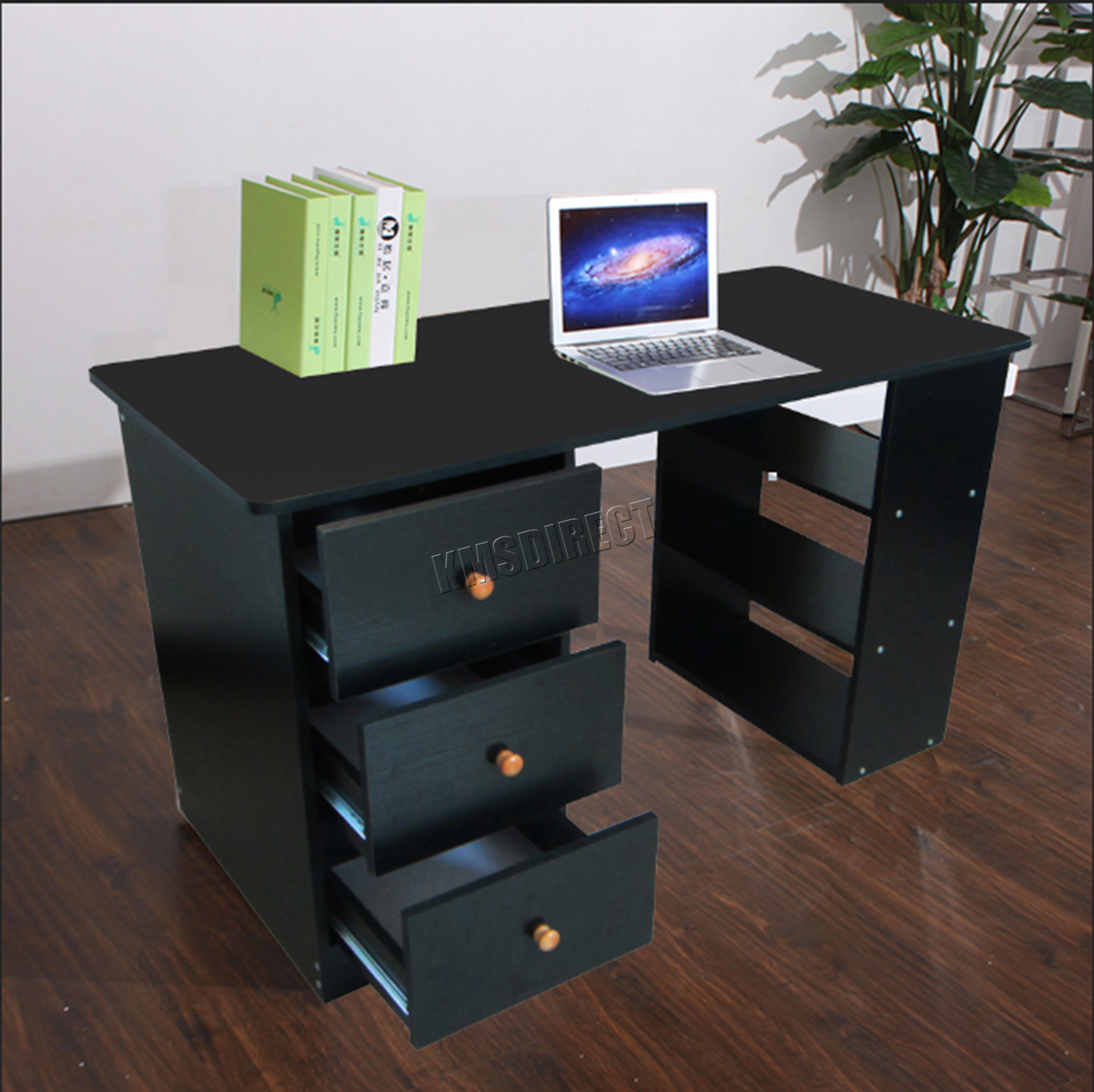 Foxhunter Computer Desk With 3 Drawers 3 Shelves Pc Table