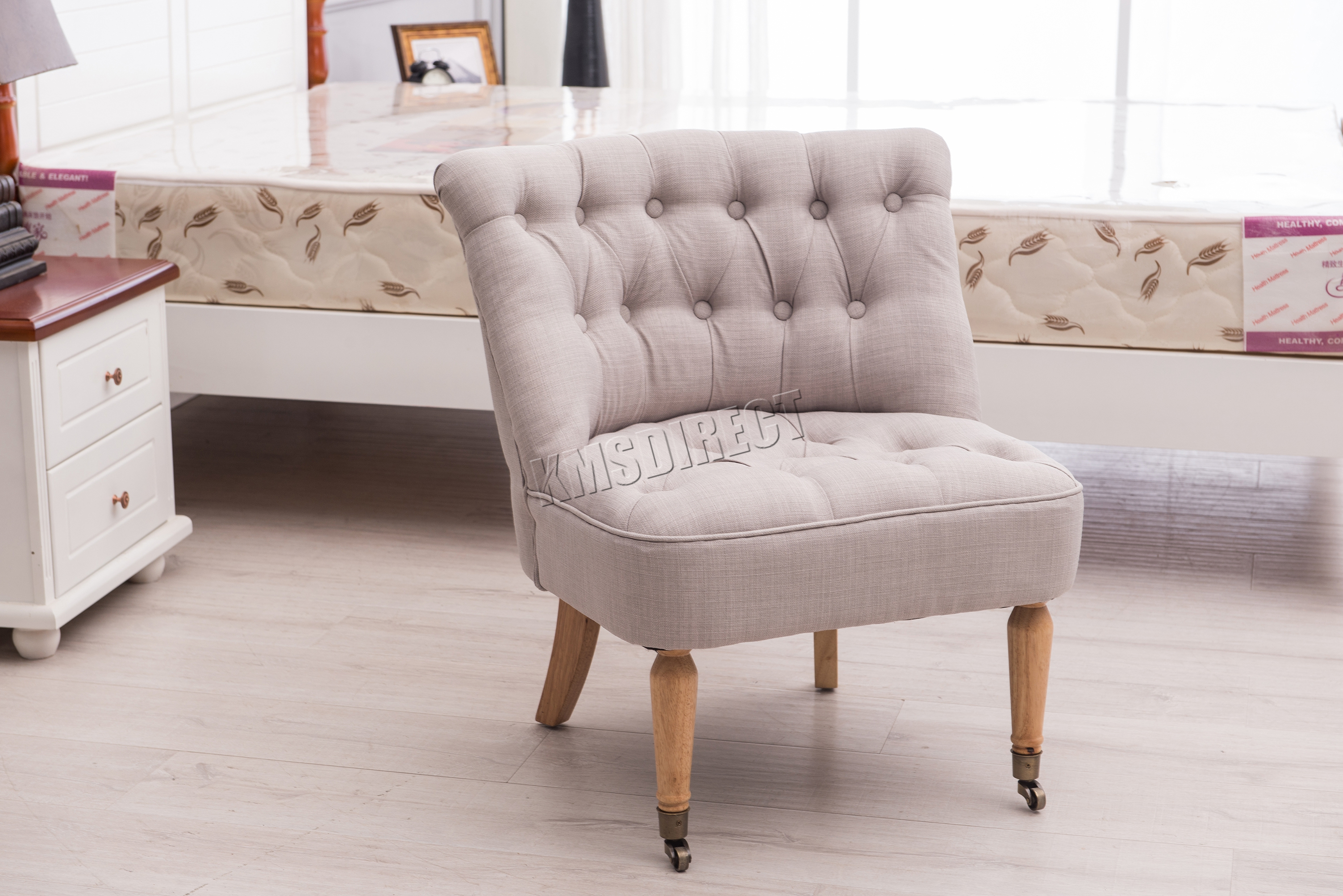 Foxhunter Linen Fabric Accent Chair Occasional Button Dining Room Bedroom Grey Ebay