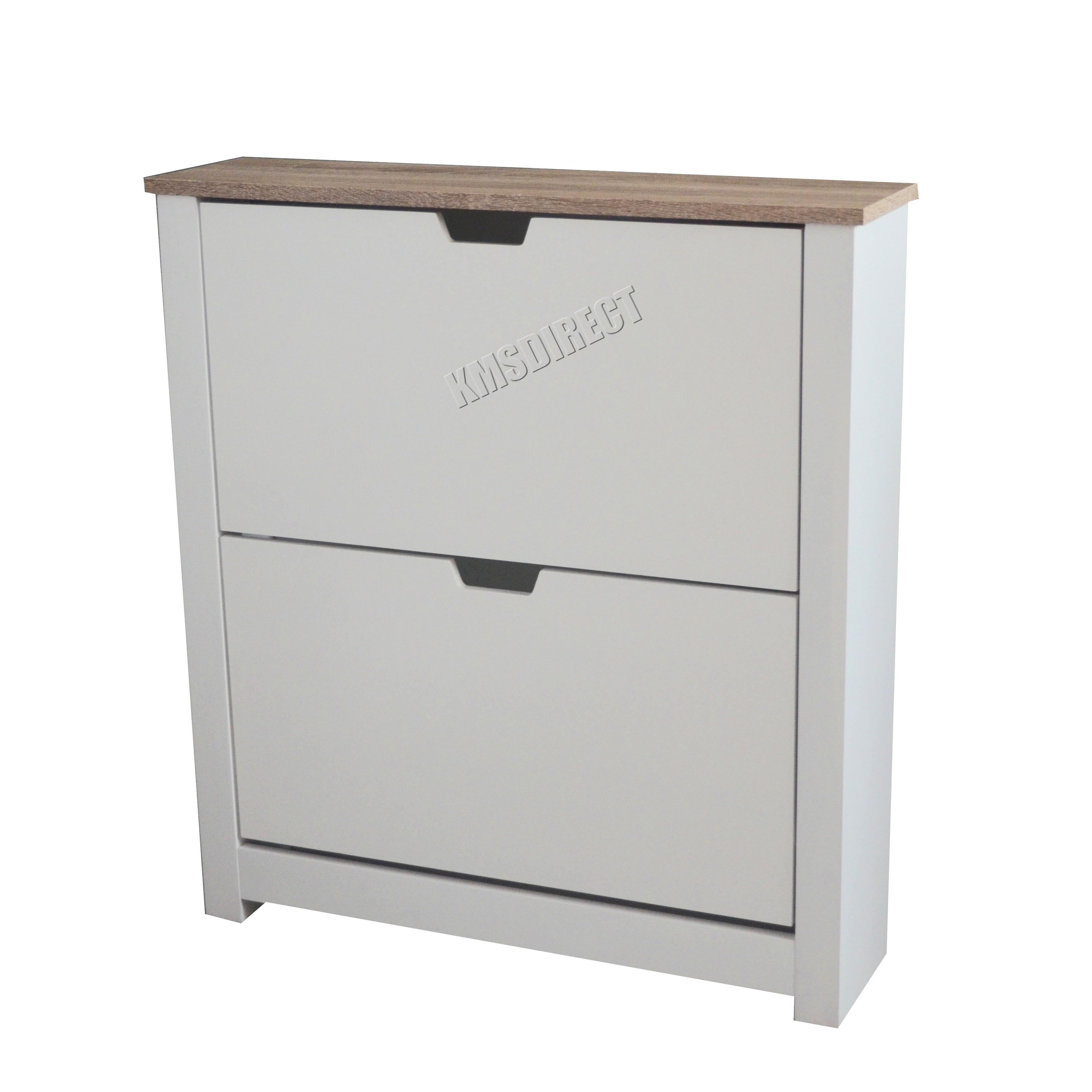FoxHunter Wooden Shoe Storage Cabinet 2 3 Drawer Footwear Stand ...