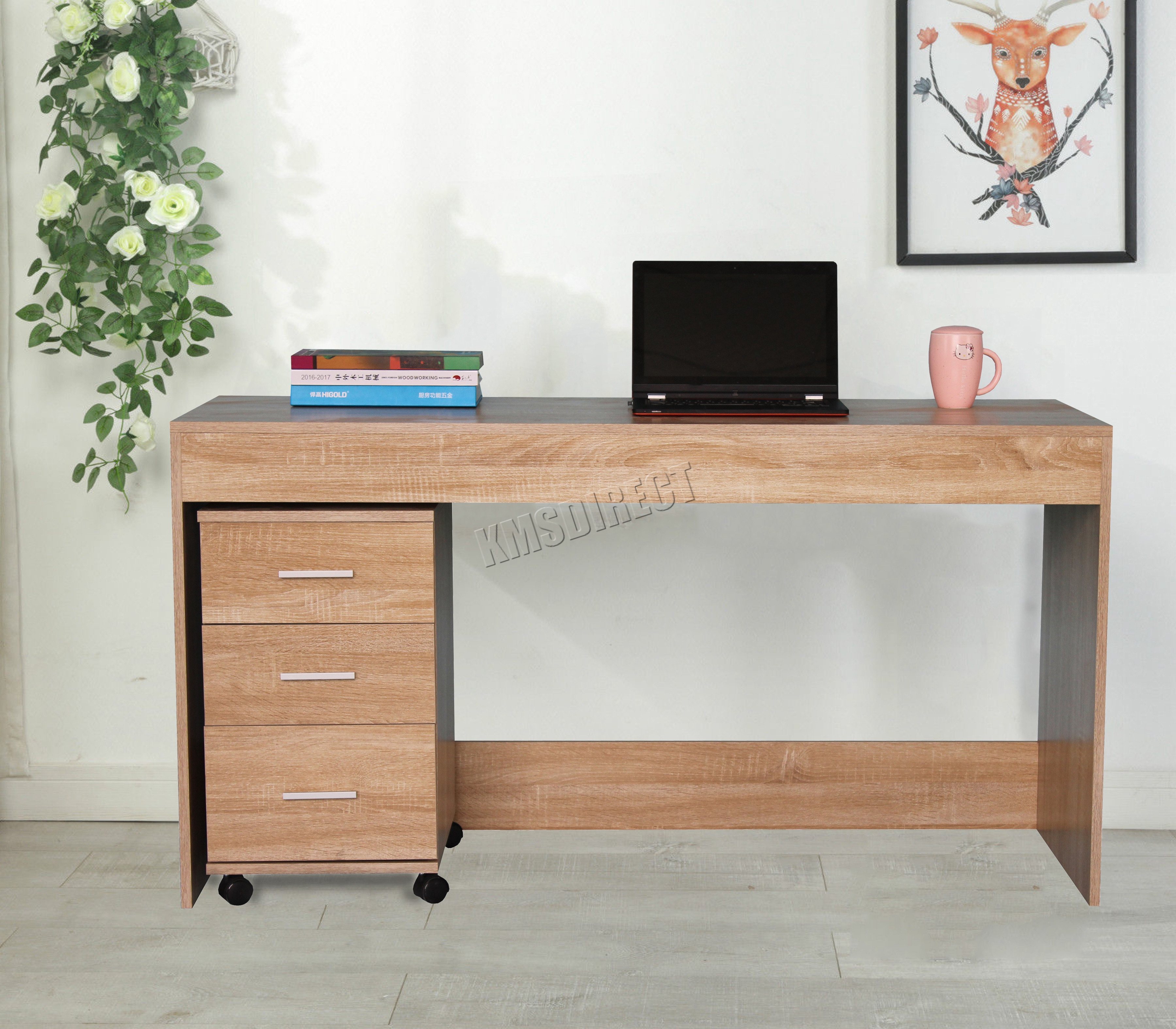 Foxhunter Computer Desk Table With 3 Drawers Home Office