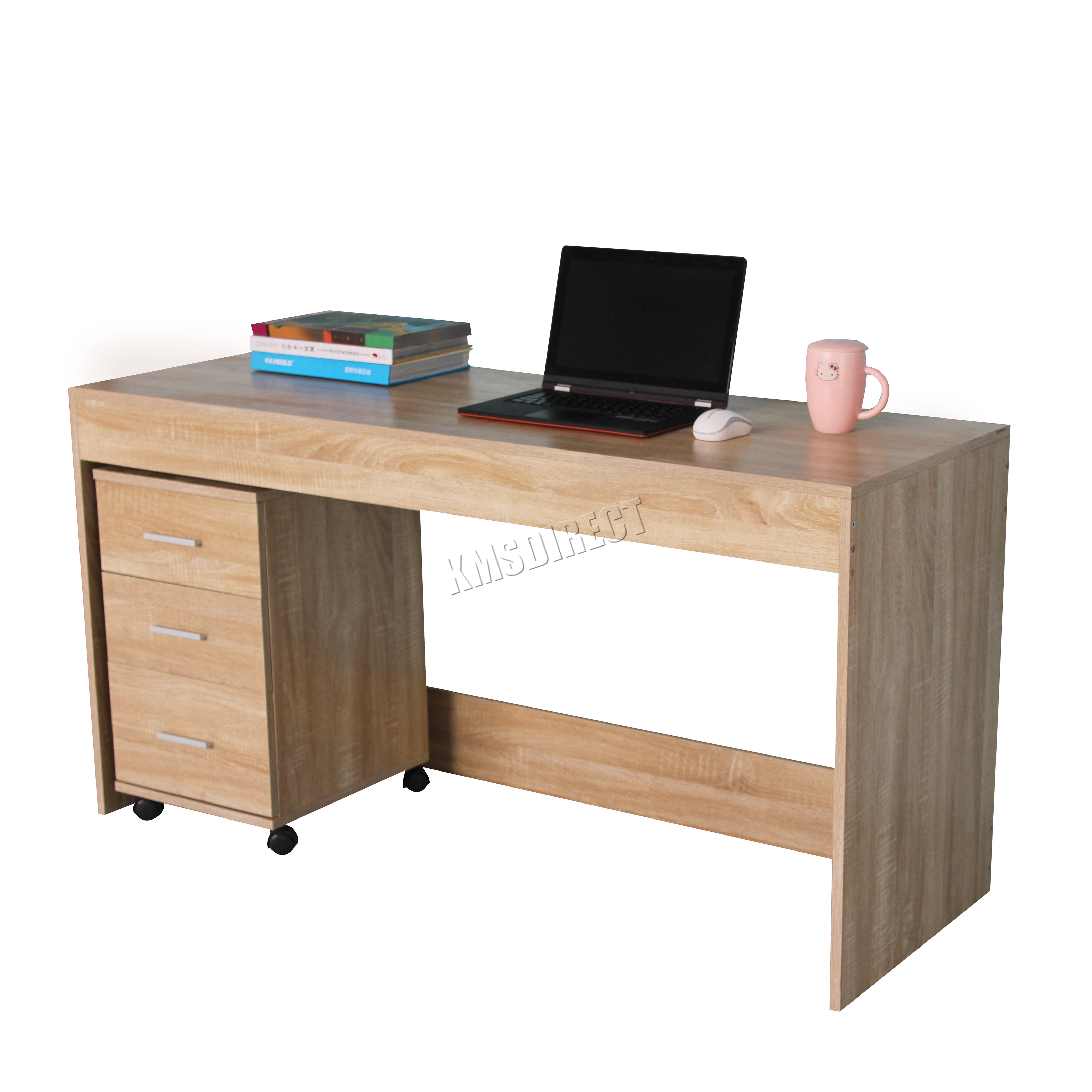 Foxhunter Computer Desk Table With 3 Drawers Home Office Furniture Cd09 Walnut Ebay