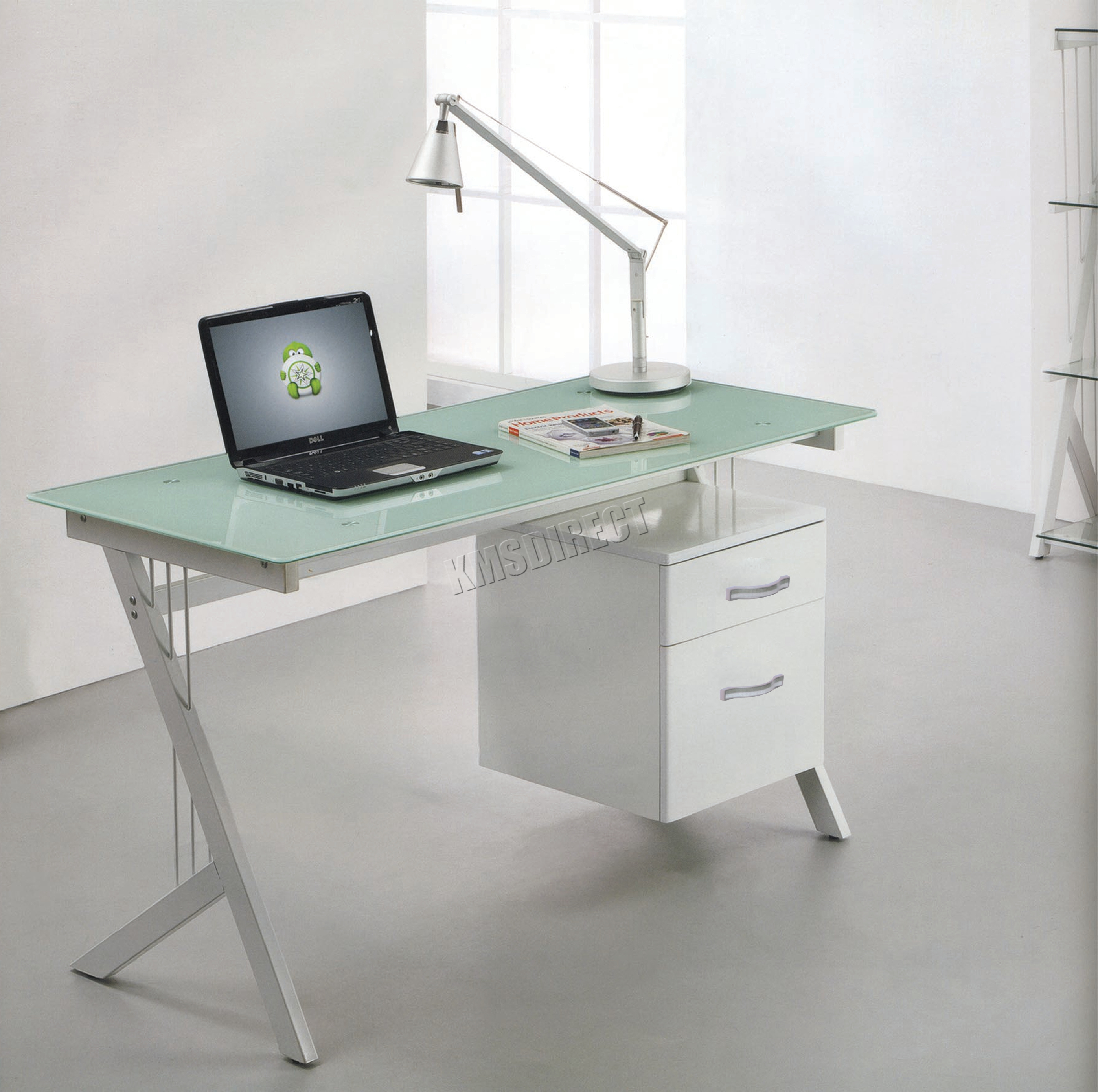 Foxhunter Computer Desk Table With Glass Top 2 Drawers