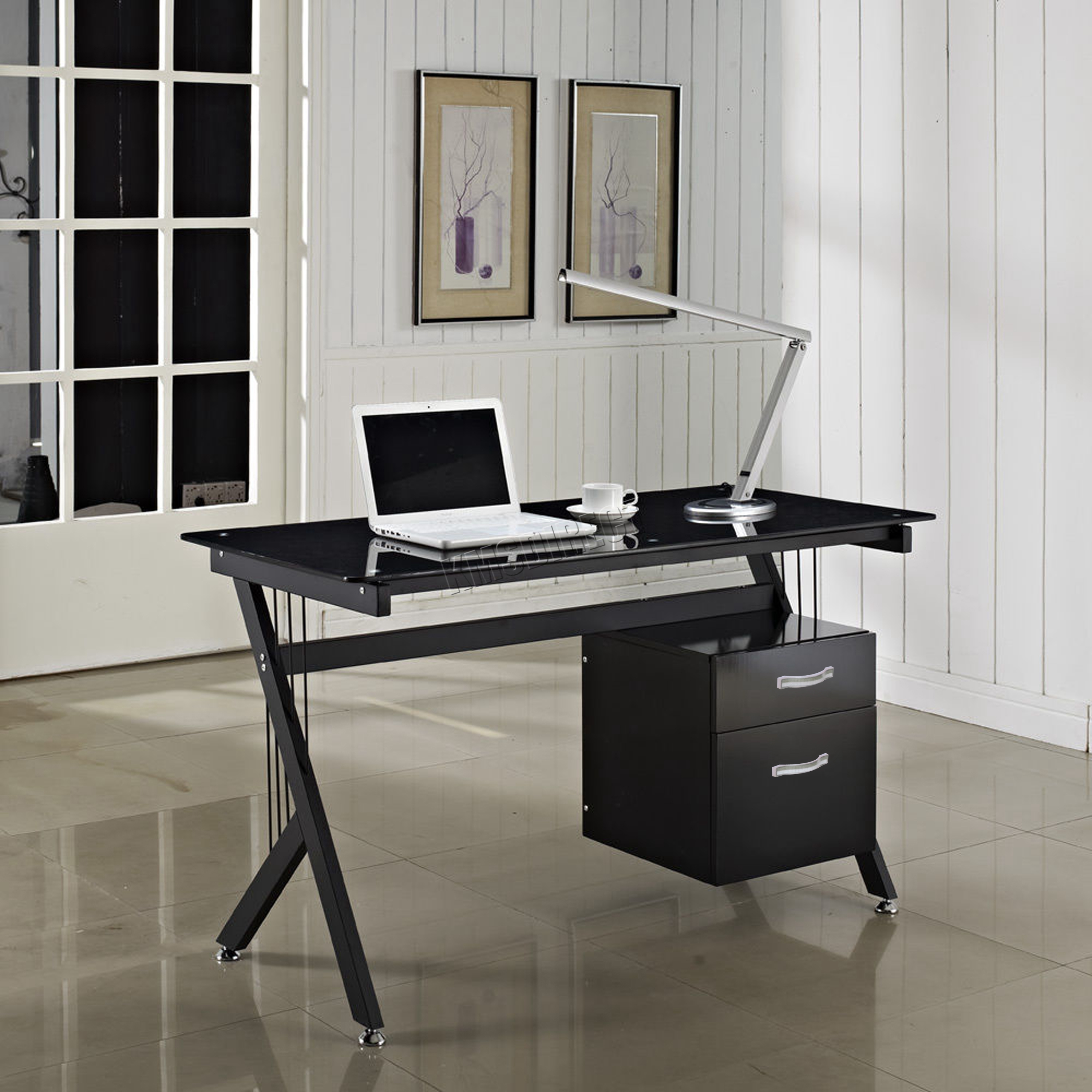 FoxHunter Computer Desk PC Table With Glass Top 2 Drawers Home
