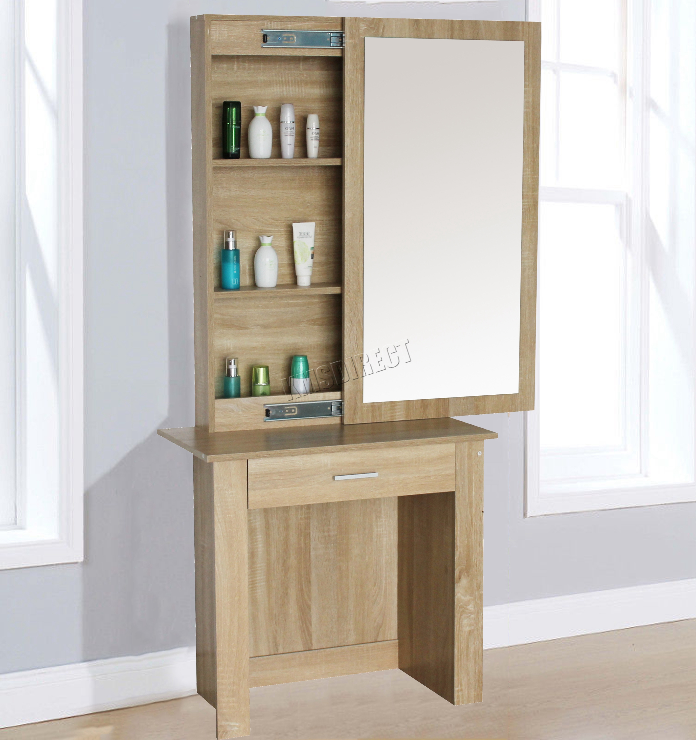 wooden makeup jewelry dressing table with sliding mirror dt04 walnut