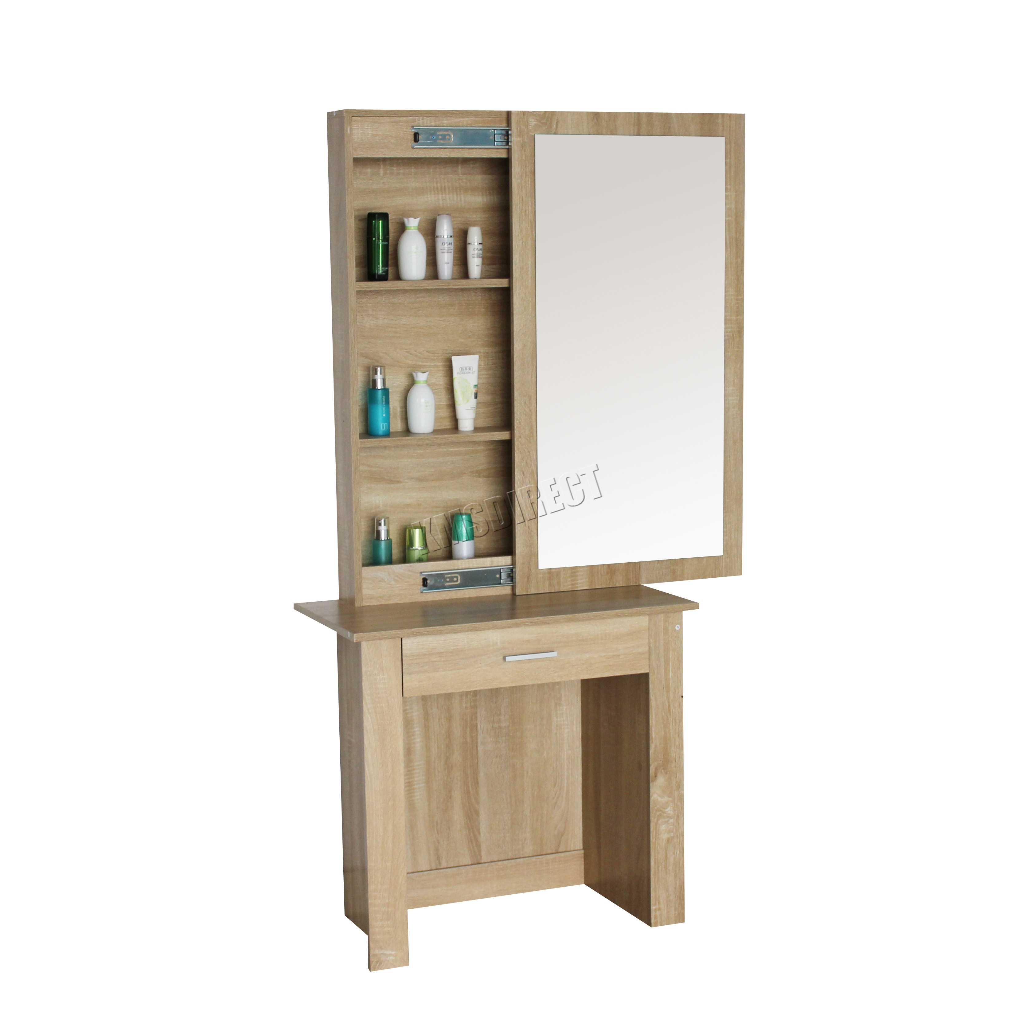 Foxhunter wooden makeup jewelry dressing table with for Largeur dressing