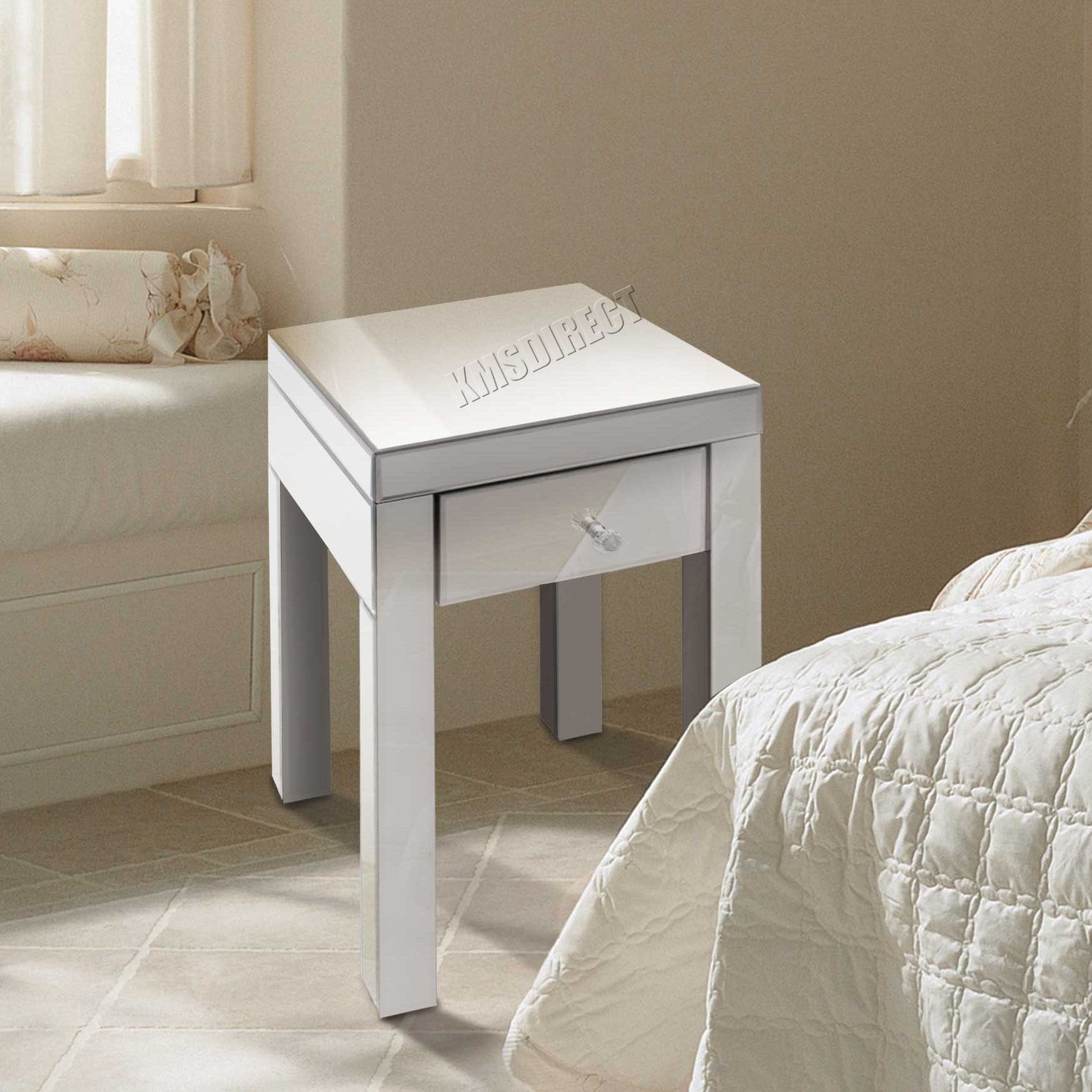 mirrored furniture glass 1 drawer bedside cabinet table bedroom mbc06