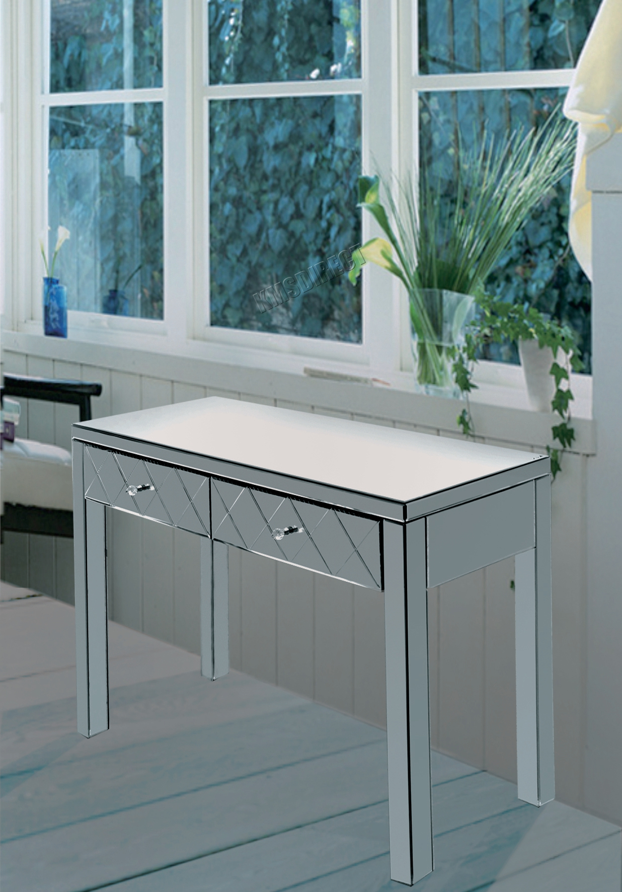 Glass dressing table - Foxhunter Mirrored Furniture Glass Dressing Table With Drawer