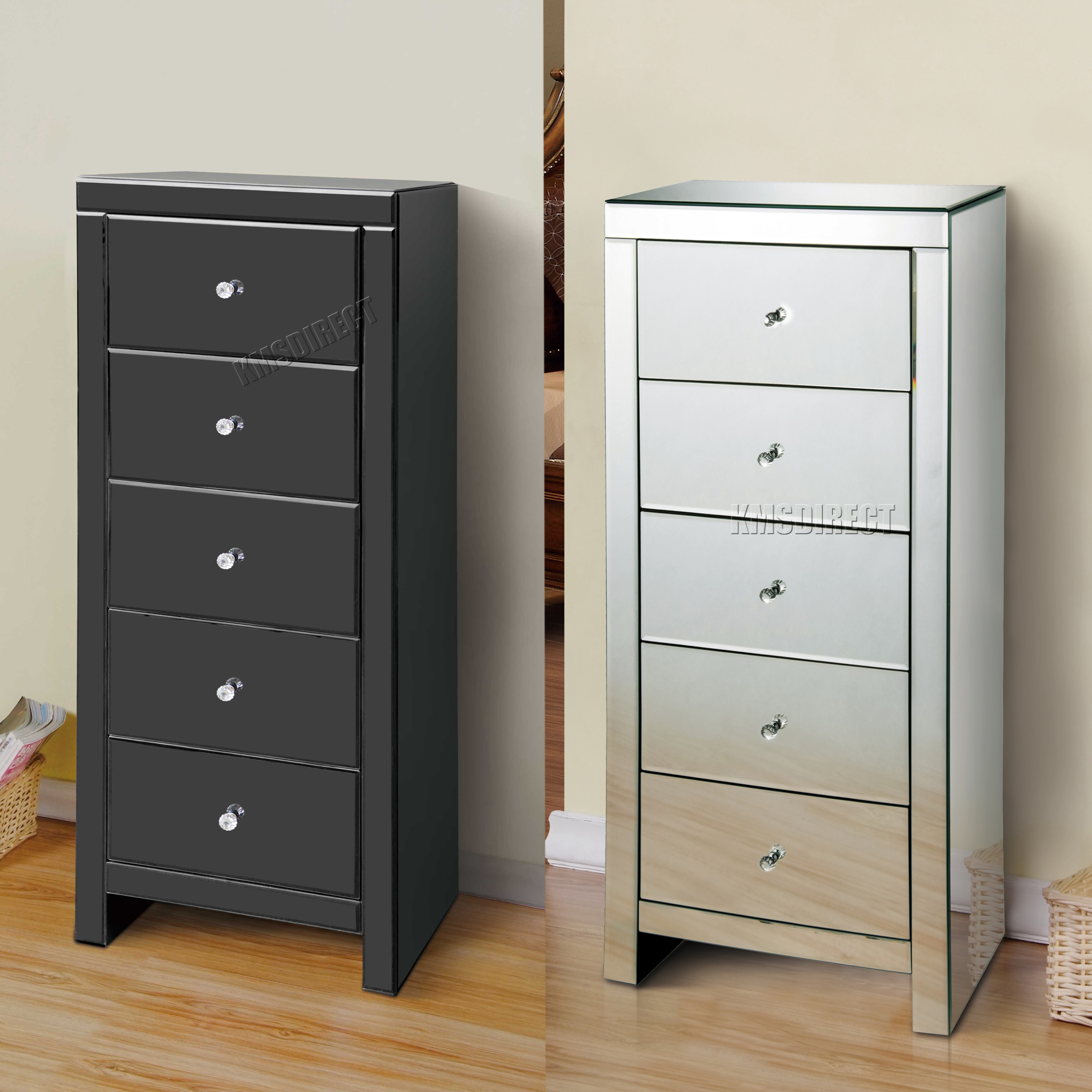 Foxhunter Mirrored Furniture Glass 5 Drawers Tallboy Chest Cabinet Bedroom Mtc01 Ebay