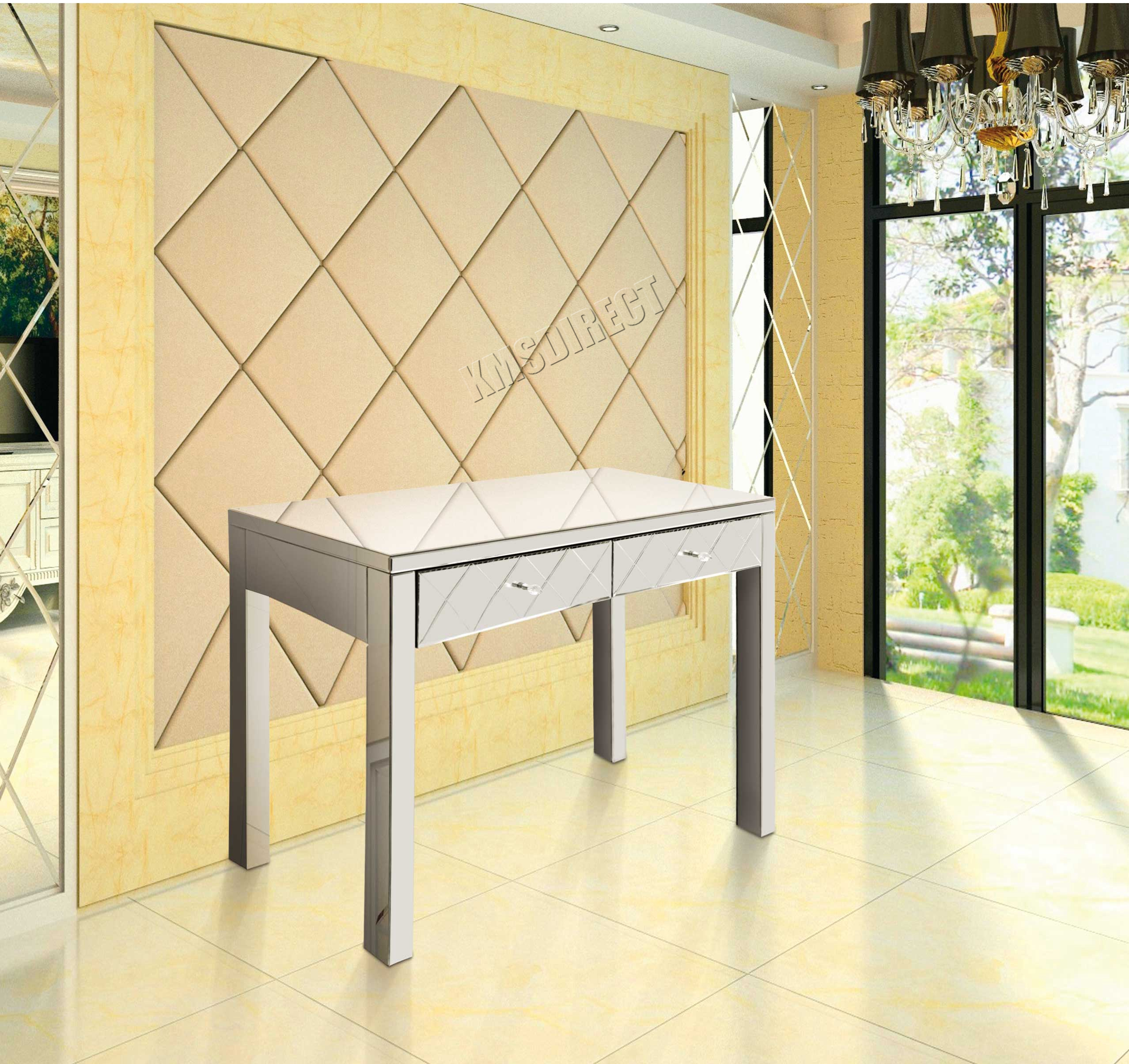Glass dressing table - Sentinel Cosmetic Damaged Foxhunter Mirrored Furniture Glass 2 Drawer Dressing Table