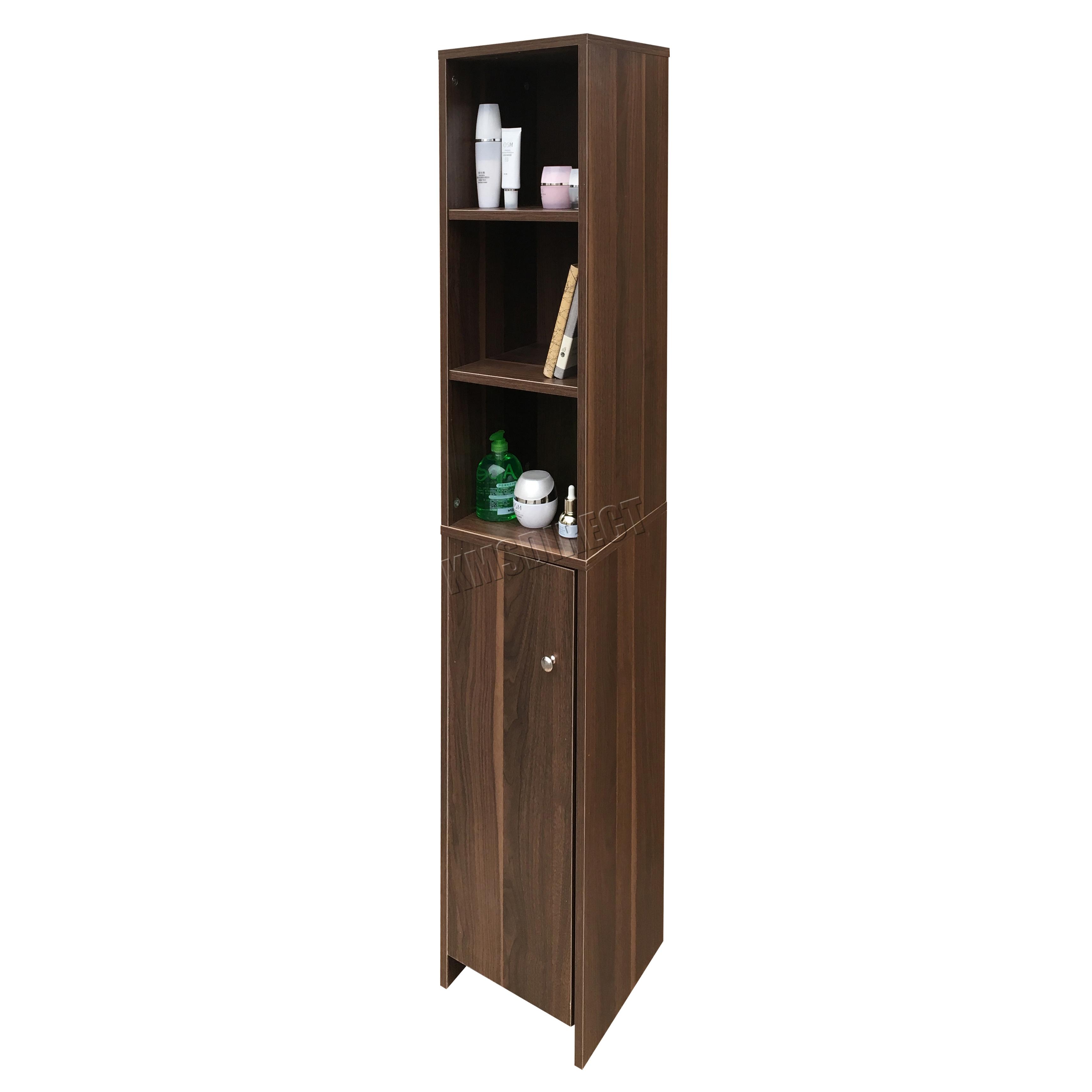 Foxhunter wall mount wooden bathroom cabinet tall shelving storage tallboy bc08 ebay for Tall wooden bathroom cabinets