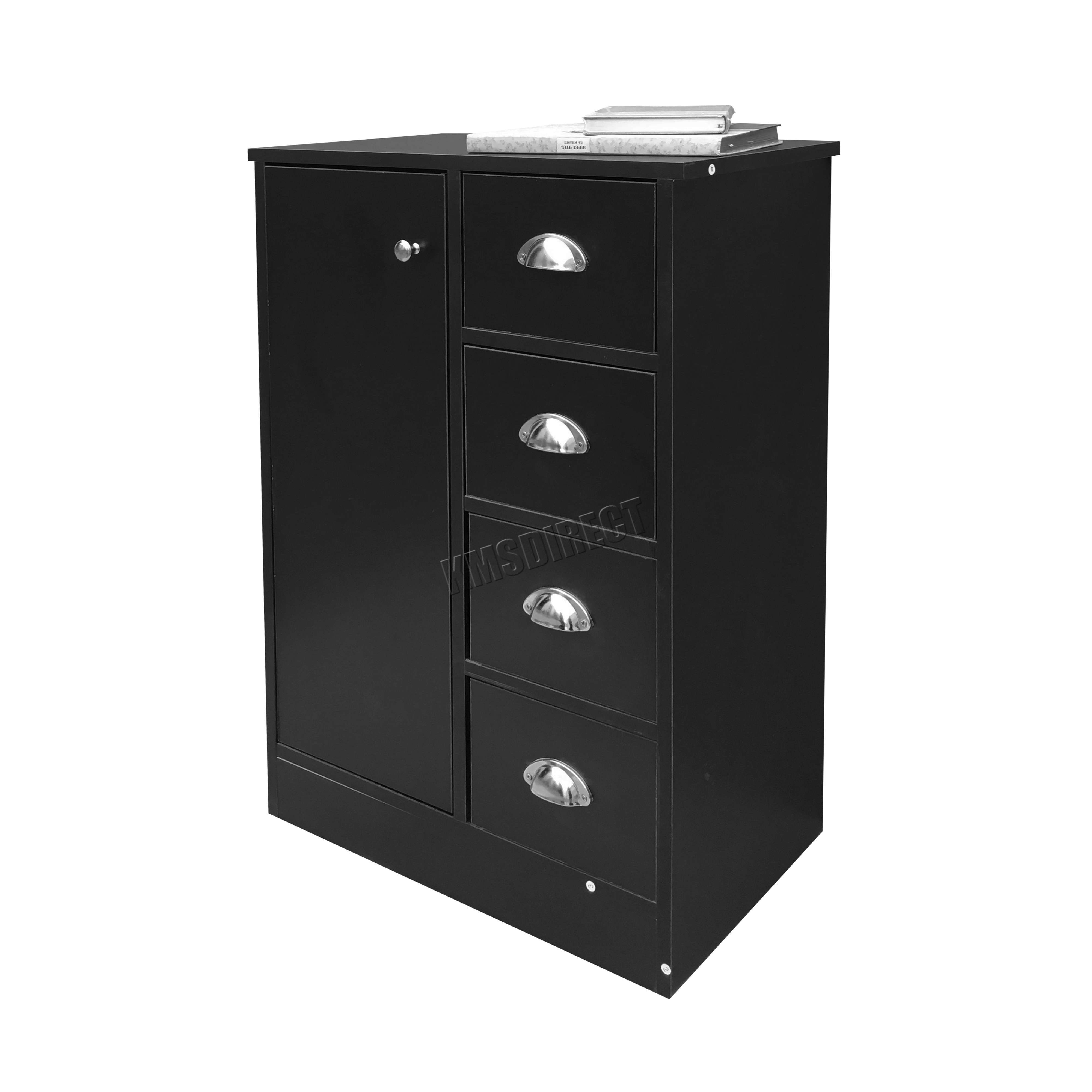 FoxHunter 4 Drawer 2 Shelves Bathroom Storage Cupboard Cabinet Unit BS03 Black