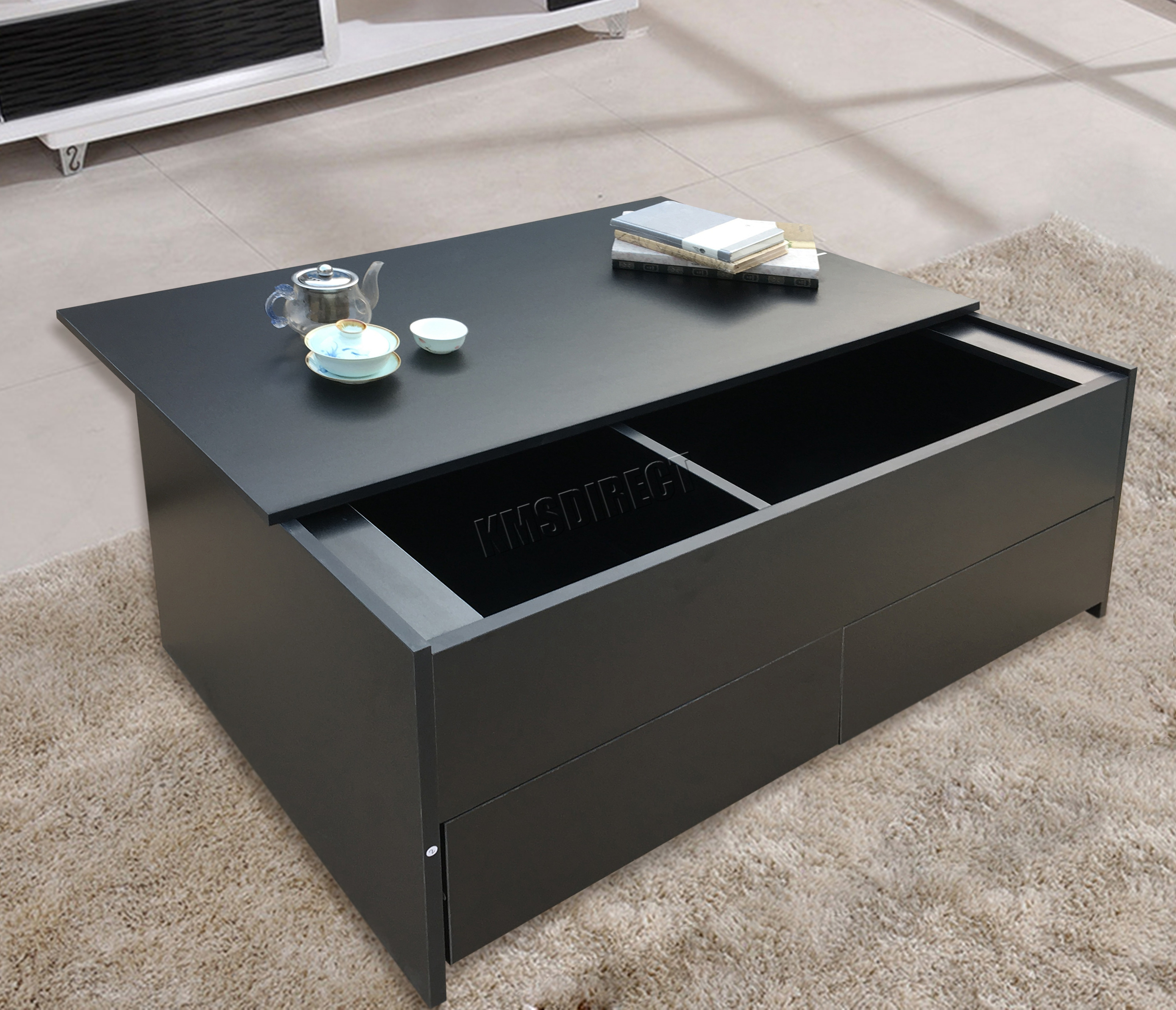 Foxhunter Slide Top Coffee Table Trunk With Storage Box And Drawer Ct02 Black Ebay