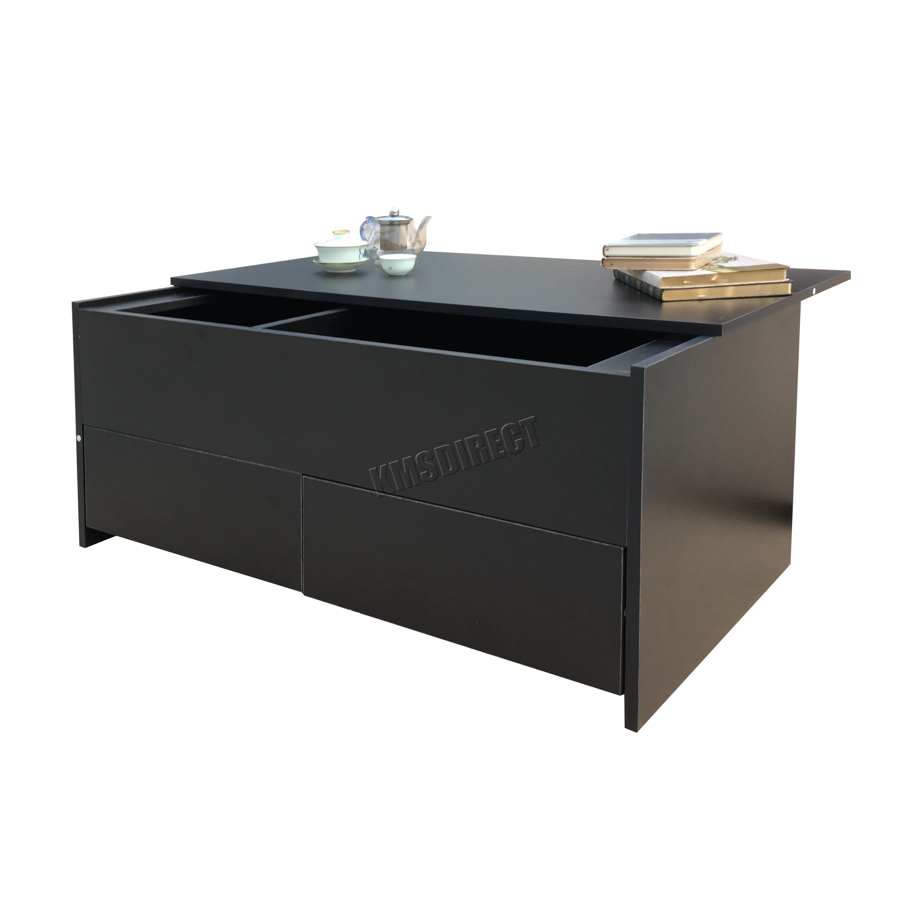 Foxhunter Slide Top Coffee Table With Storage And Drawer Living Room Ct02 Black Ebay